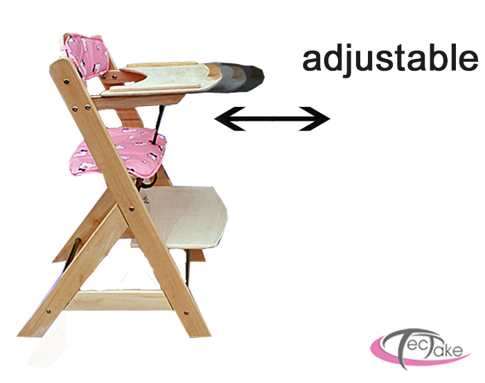 Wooden Baby Toddler Child High Chair Feeding Seat Height