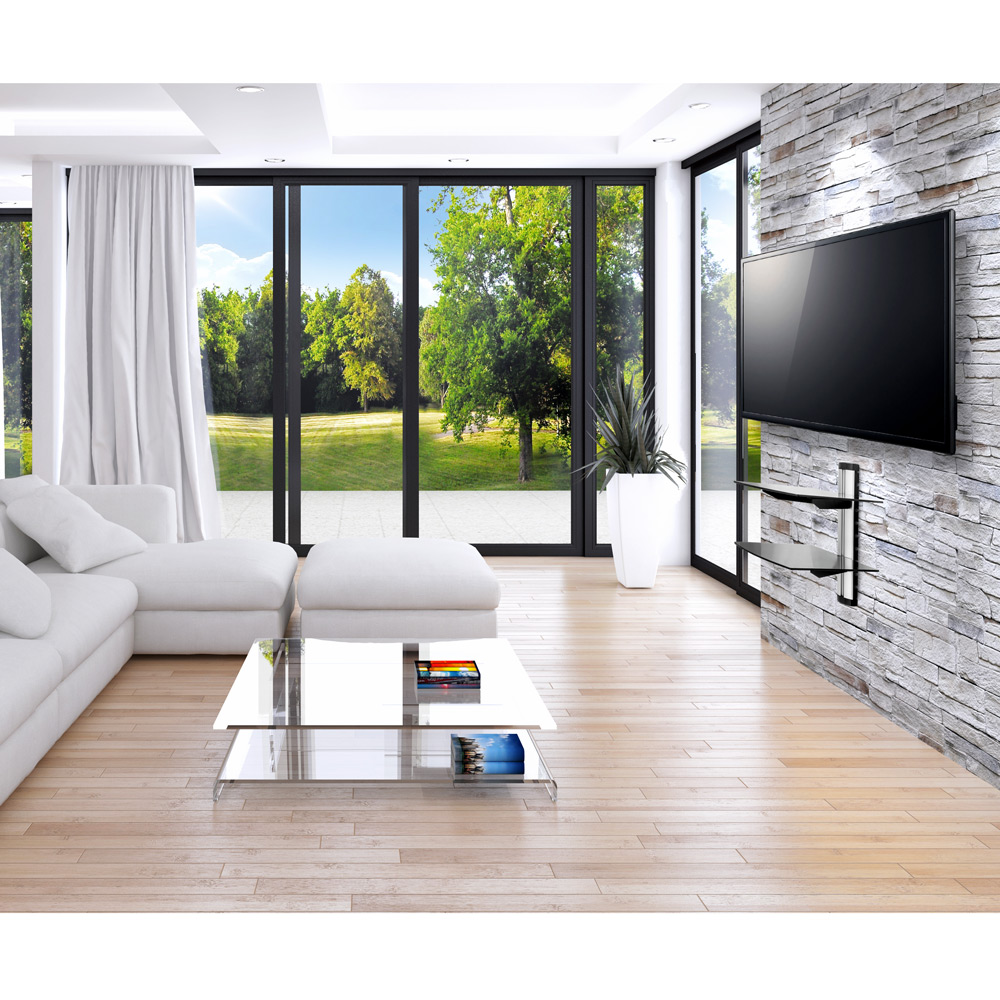 dvd hifi glas regal media konsole tv wandhalterung. Black Bedroom Furniture Sets. Home Design Ideas