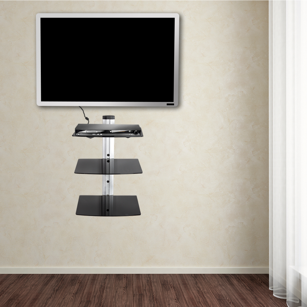 Supporto staffa parete muro dvd receiver scaffale mensola - Support tv mural avec tablette ...