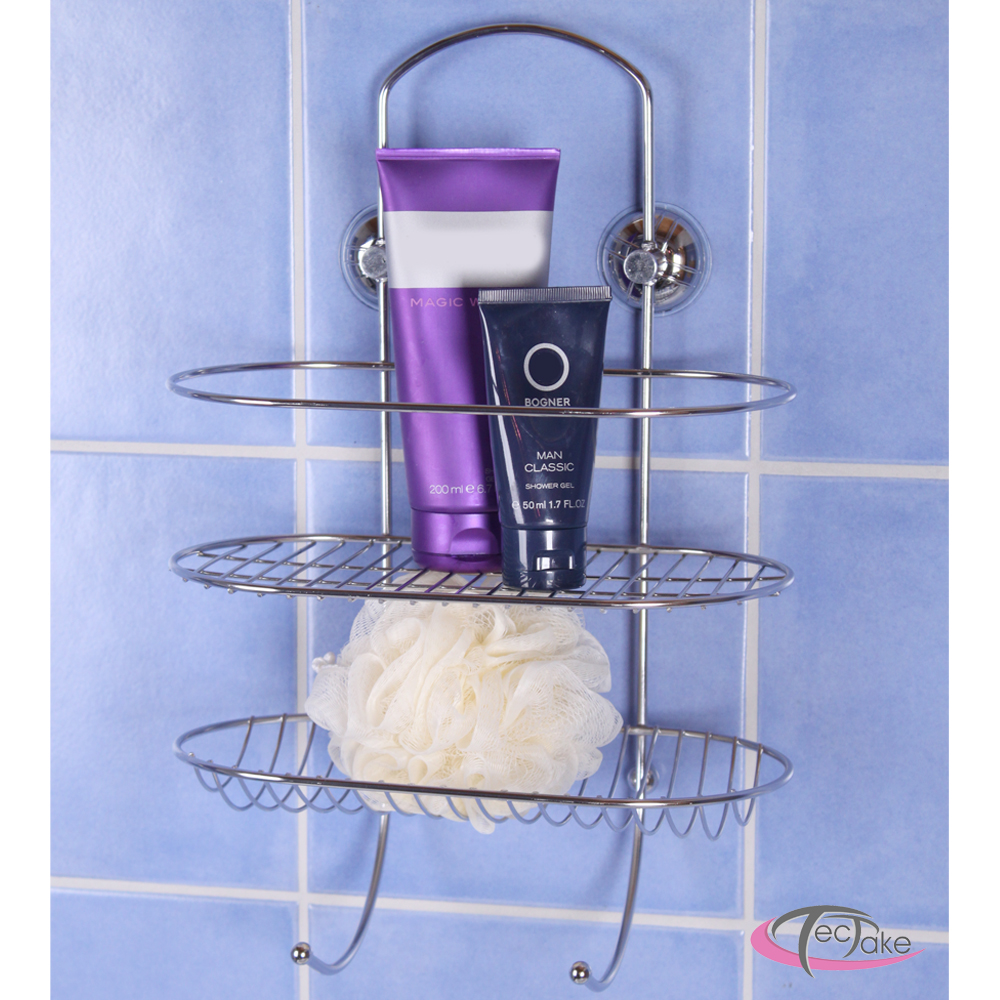 Taladrar Baldosas Baño:Suction Cup Shower Caddy Stainless Steel