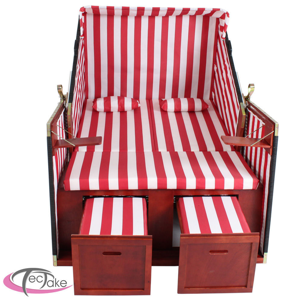 xxl luxus strandkorb strandk rbe volllieger gartenliege gartenm bel rot wei ebay. Black Bedroom Furniture Sets. Home Design Ideas