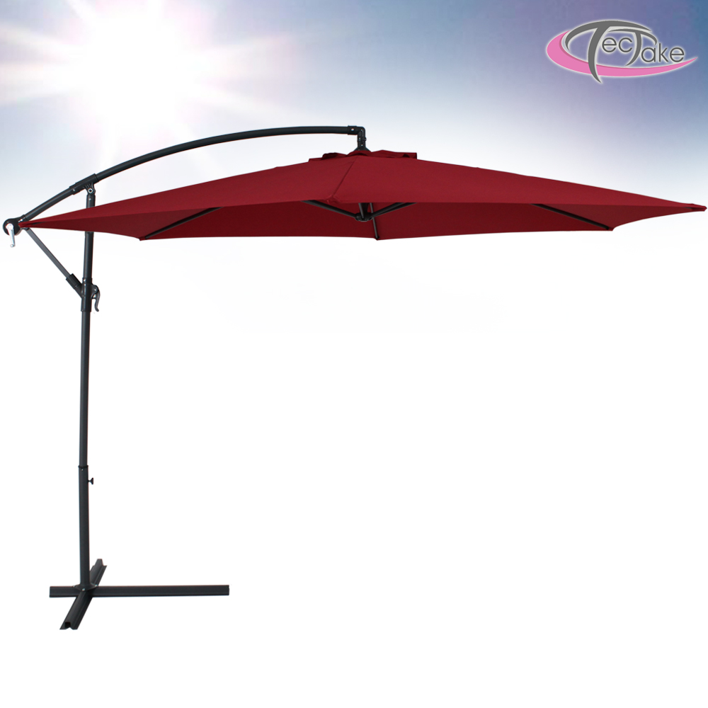 aluminium cantilever garden parasol winered uv protection stand cover ebay. Black Bedroom Furniture Sets. Home Design Ideas