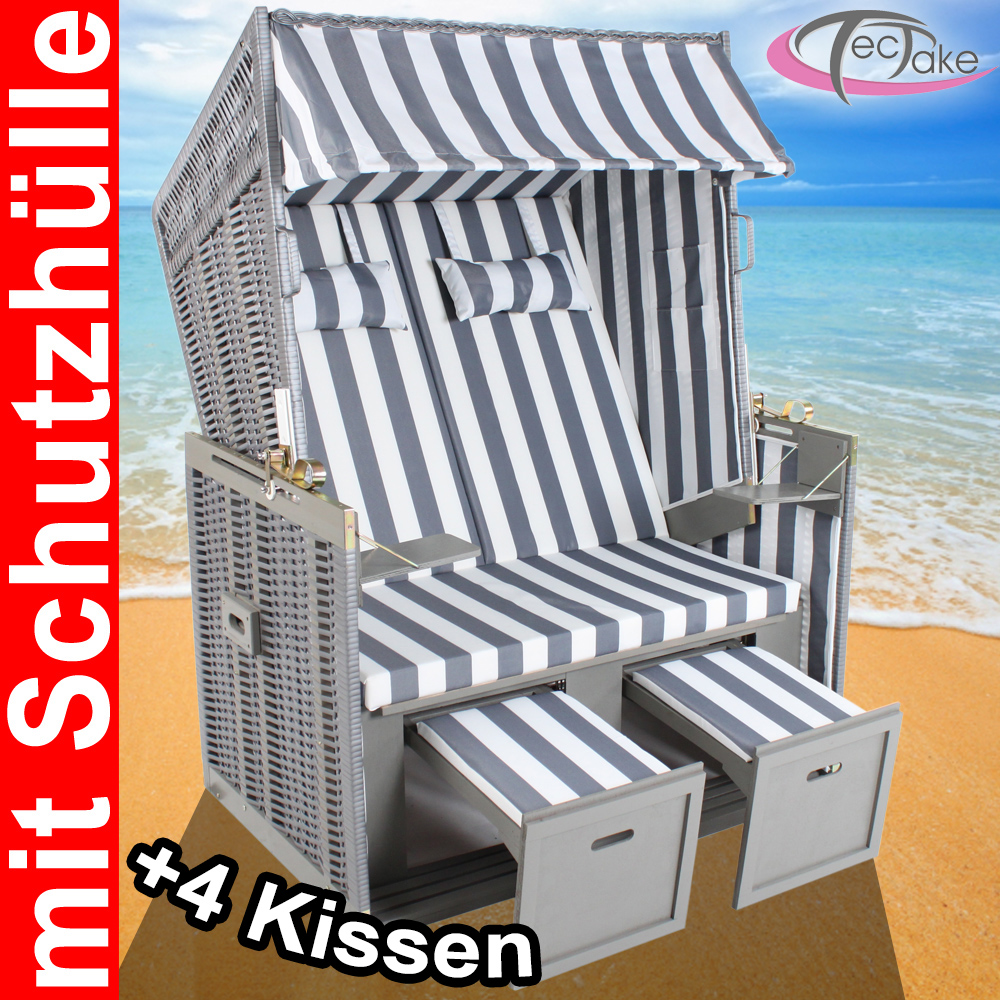 xxl luxus strandkorb strandk rbe volllieger gartenliege gartenm bel grau wei ebay. Black Bedroom Furniture Sets. Home Design Ideas