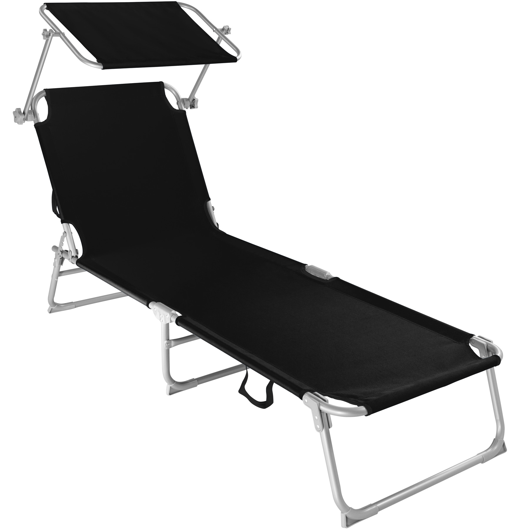chaise longue de jardin pliante transat bain de soleil pare soleil noir neuf ebay. Black Bedroom Furniture Sets. Home Design Ideas