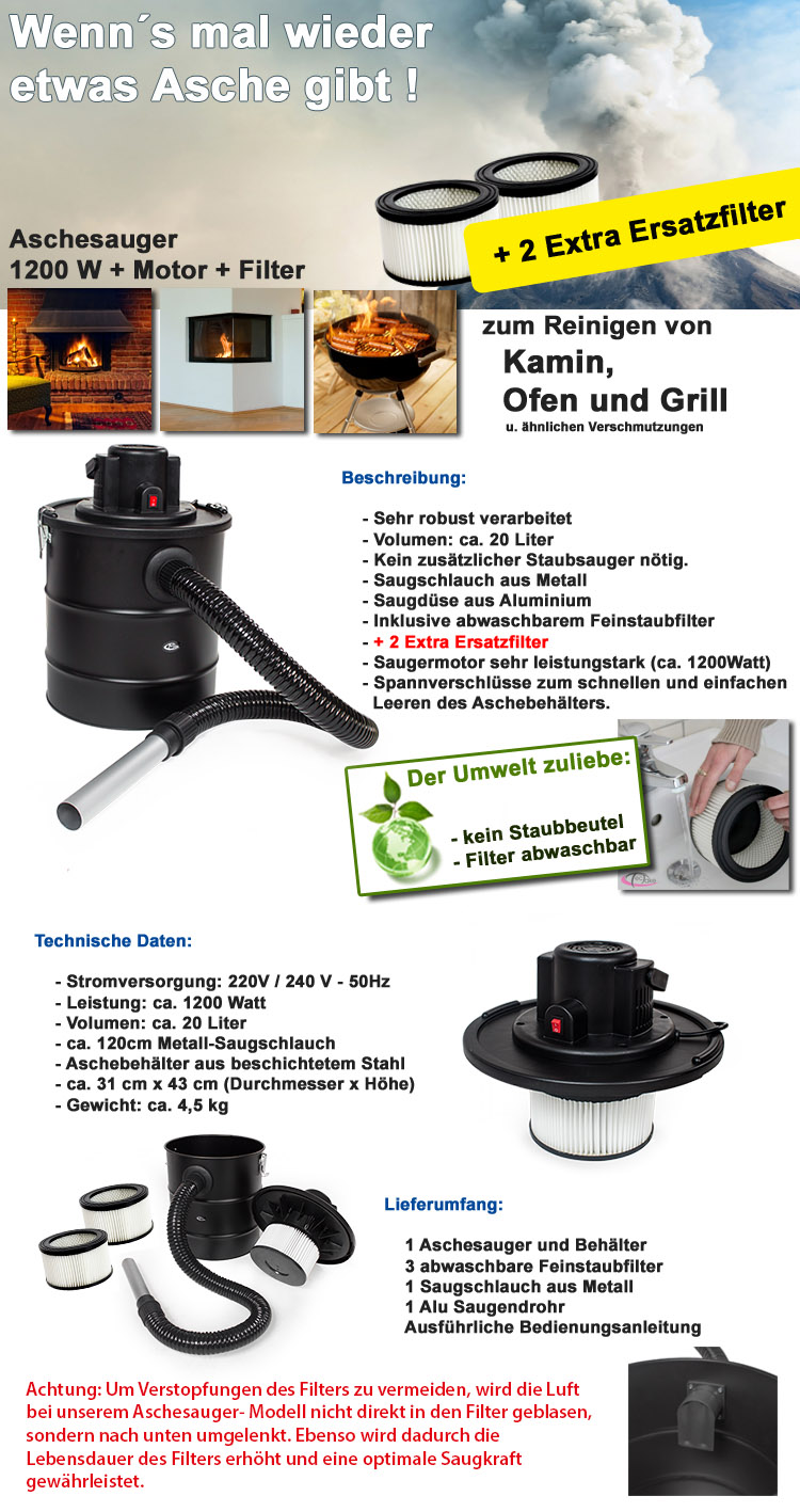 aschesauger kaminsauger mit motor 1200w hepa filter kamin 2 ersatzfilter extra ebay. Black Bedroom Furniture Sets. Home Design Ideas