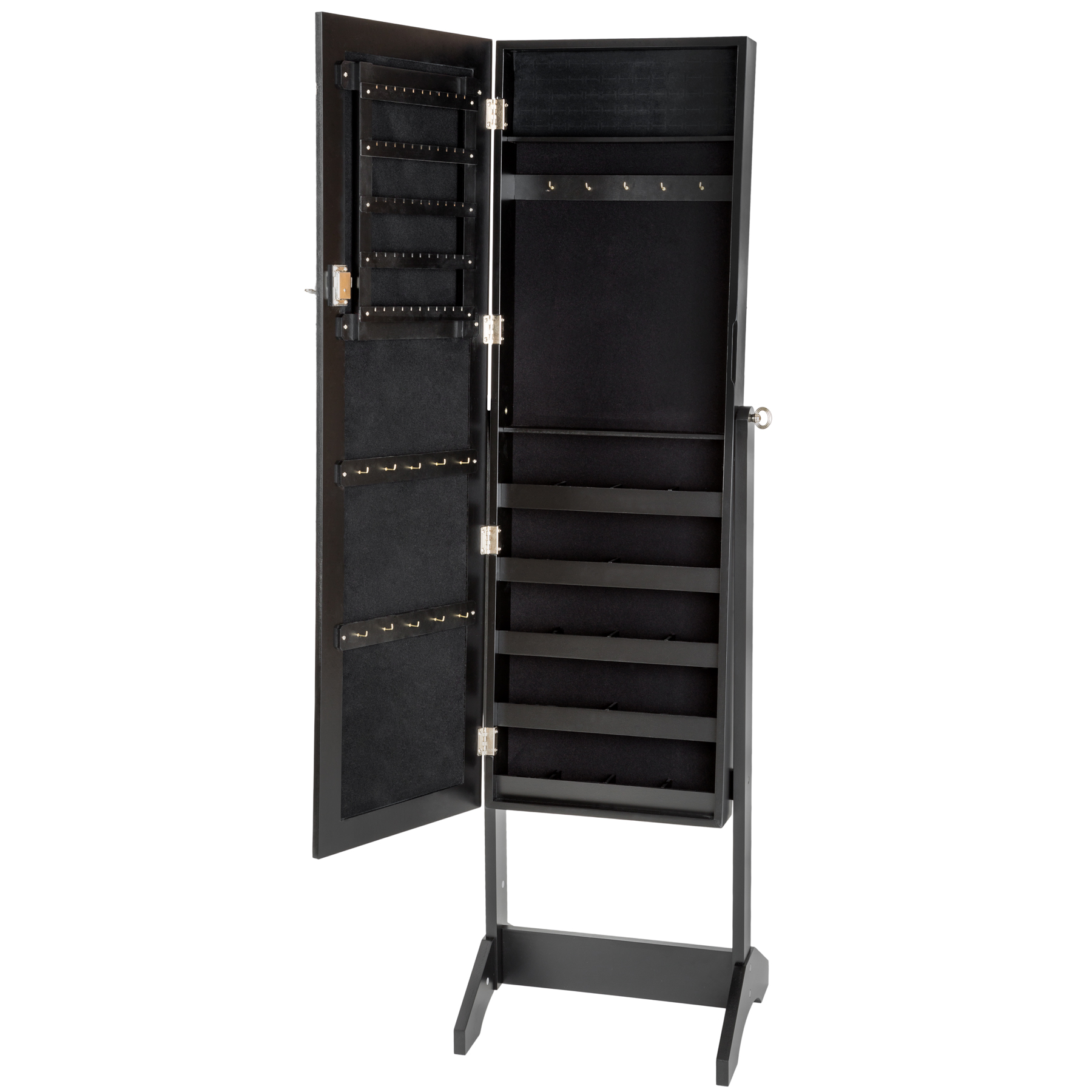 large floor standing jewelry cabinet storage box organiser with mirror. Black Bedroom Furniture Sets. Home Design Ideas