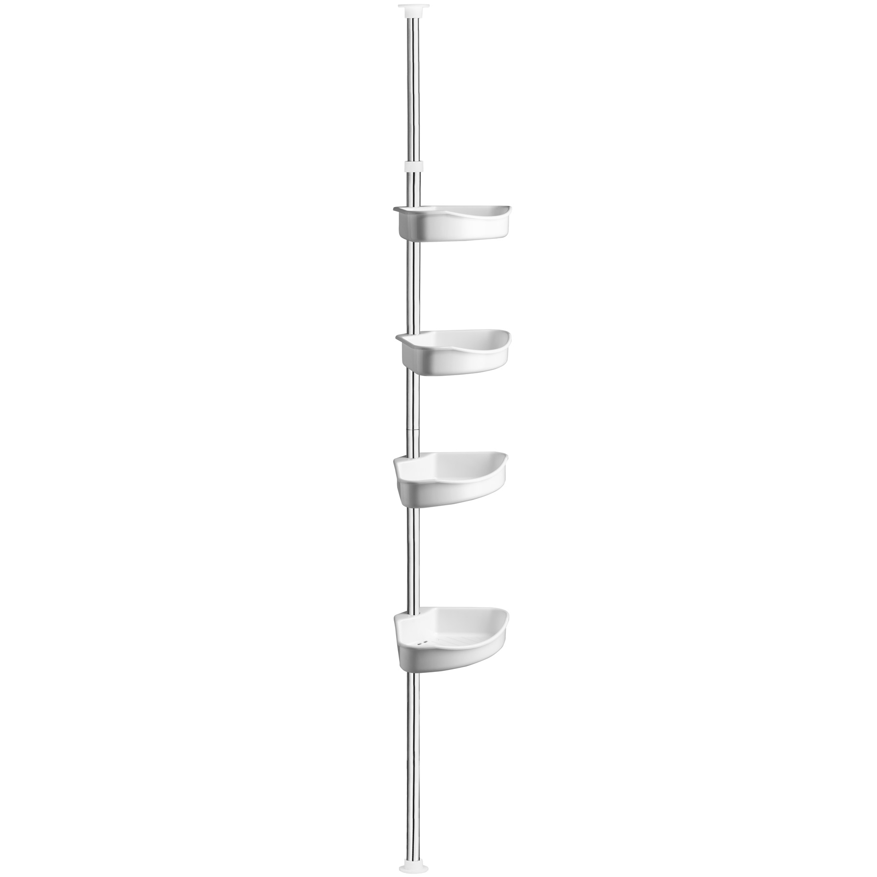 Telescopic shower shelf corner shelf stainless steel ebay for Accessoires salle de bain ikea