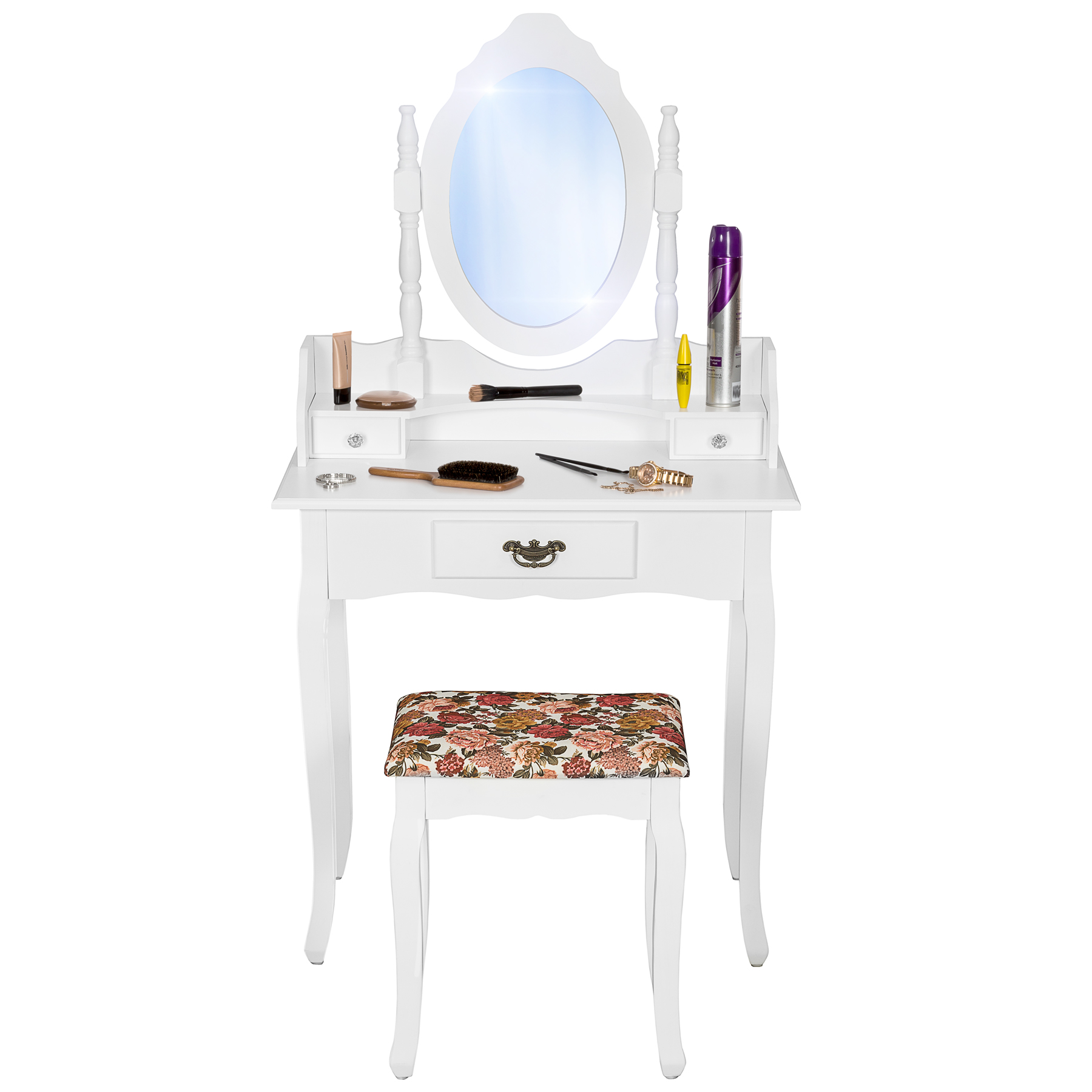 coiffeuse blanche tabouret table de maquillage avec miroir commode coiffeur. Black Bedroom Furniture Sets. Home Design Ideas