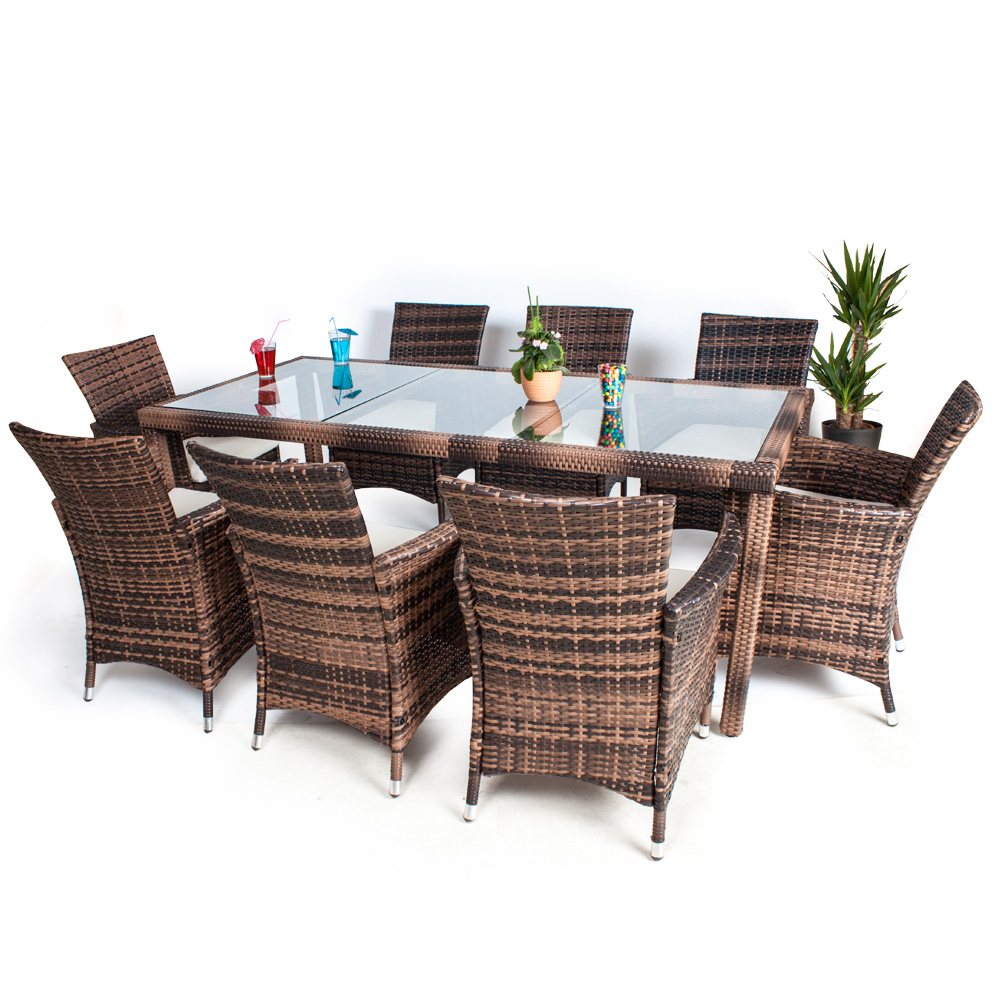 8 seater 1 table rattan garden furniture chairs set outdoor wicker brown ebay. Black Bedroom Furniture Sets. Home Design Ideas