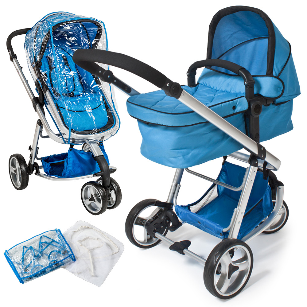 pram travel system 3 in 1 combi stroller buggy baby child jogger push chair blue ebay. Black Bedroom Furniture Sets. Home Design Ideas