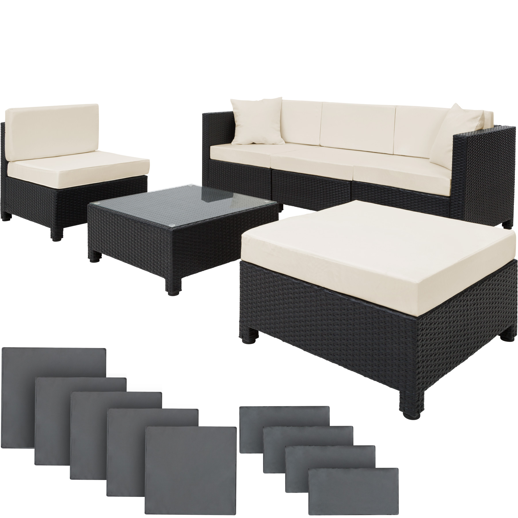Luxury Rattan Aluminium Garden Furniture Sofa Set Outdoor Wicker Black Ebay