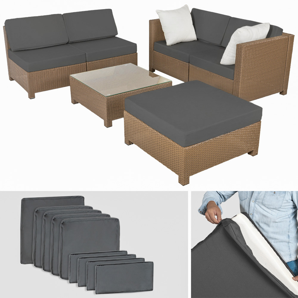 poly rattan aluminium sofa sitzgruppe gartenm bel lounge rattanm bel 2 bez ge ebay. Black Bedroom Furniture Sets. Home Design Ideas