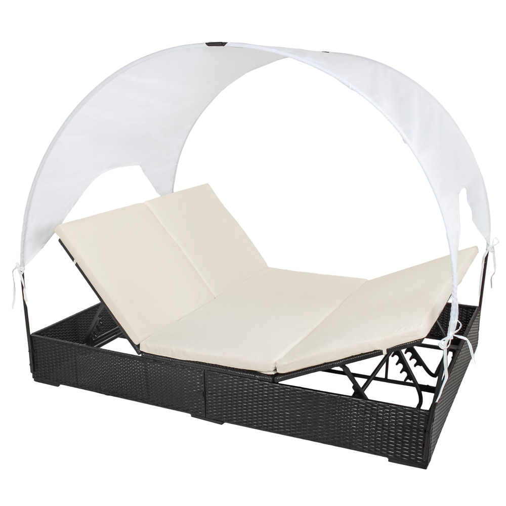 doppel garten lounge liege poly rattan mit dach sonnenliege gartenliege schwarz ebay. Black Bedroom Furniture Sets. Home Design Ideas