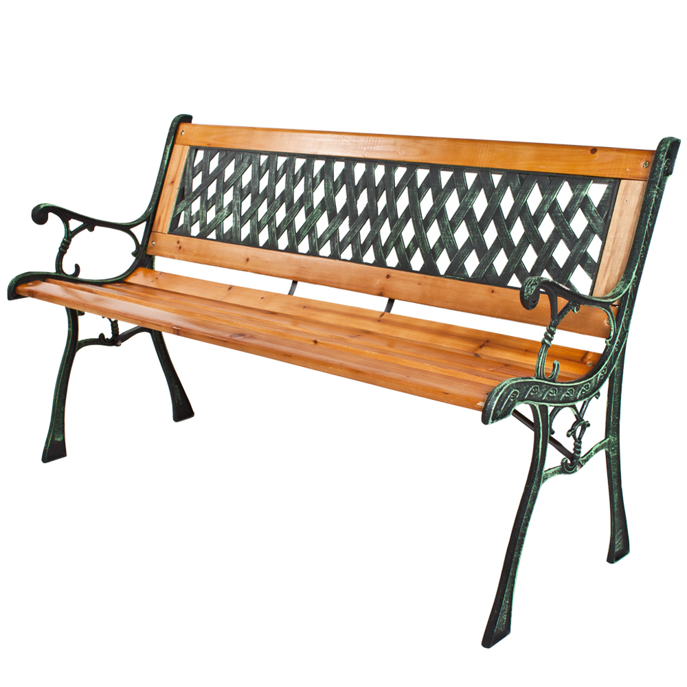Wooden garden bench seat with cast iron legs wood for Banc de jardin fonte et bois