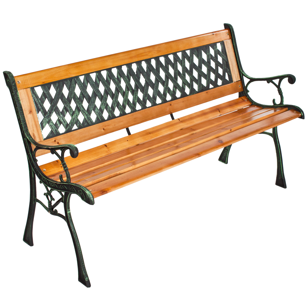 Wooden garden bench seat with cast iron legs wood for Banco de jardin ikea