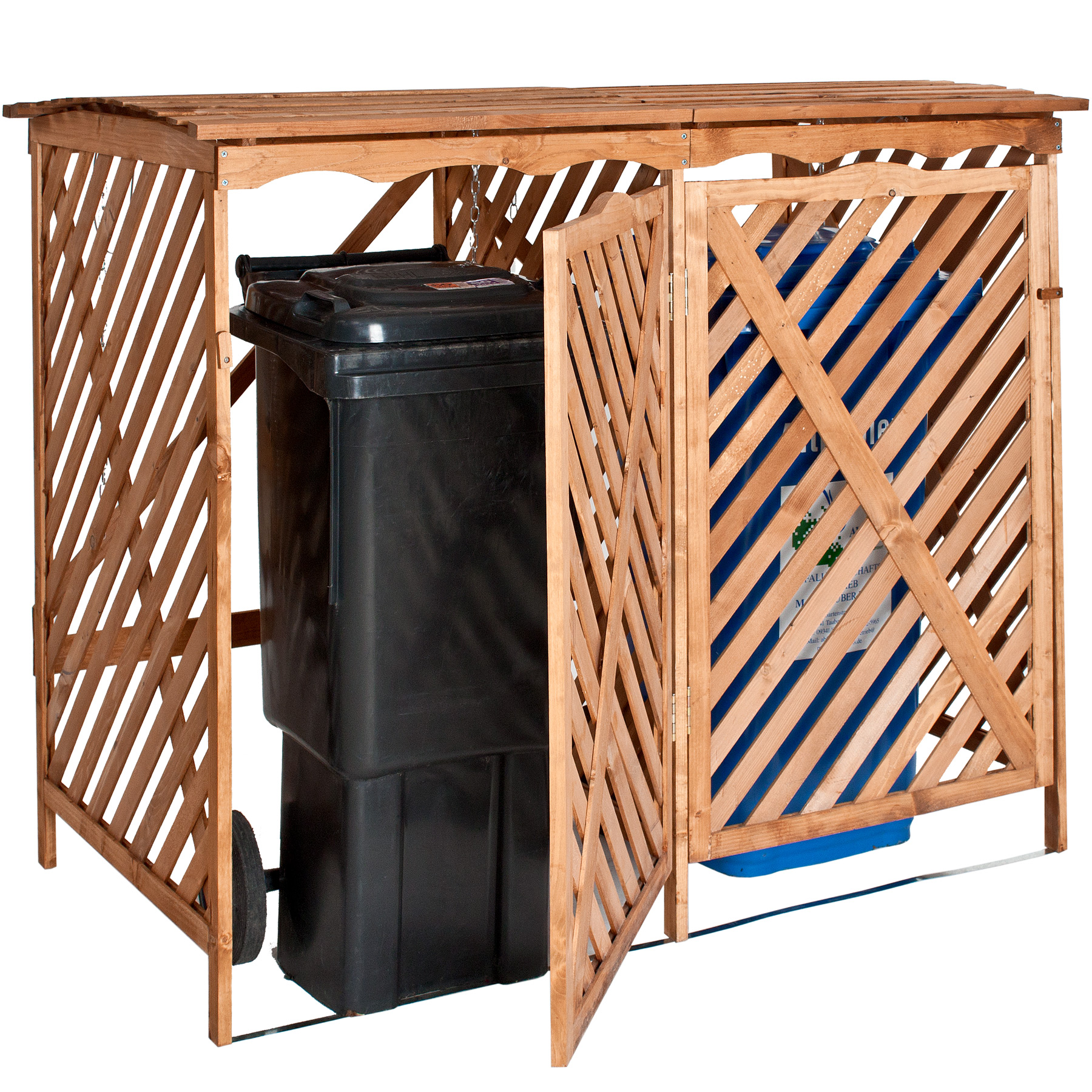 double wooden bin storage screen rubbish wheelie box cover garden store shed ebay. Black Bedroom Furniture Sets. Home Design Ideas