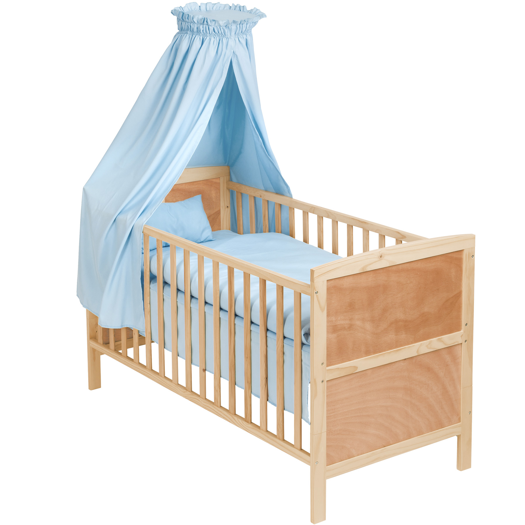 3 in 1 babybett mit himmel kinderbett h henverstellbar aus holz bettset blau. Black Bedroom Furniture Sets. Home Design Ideas