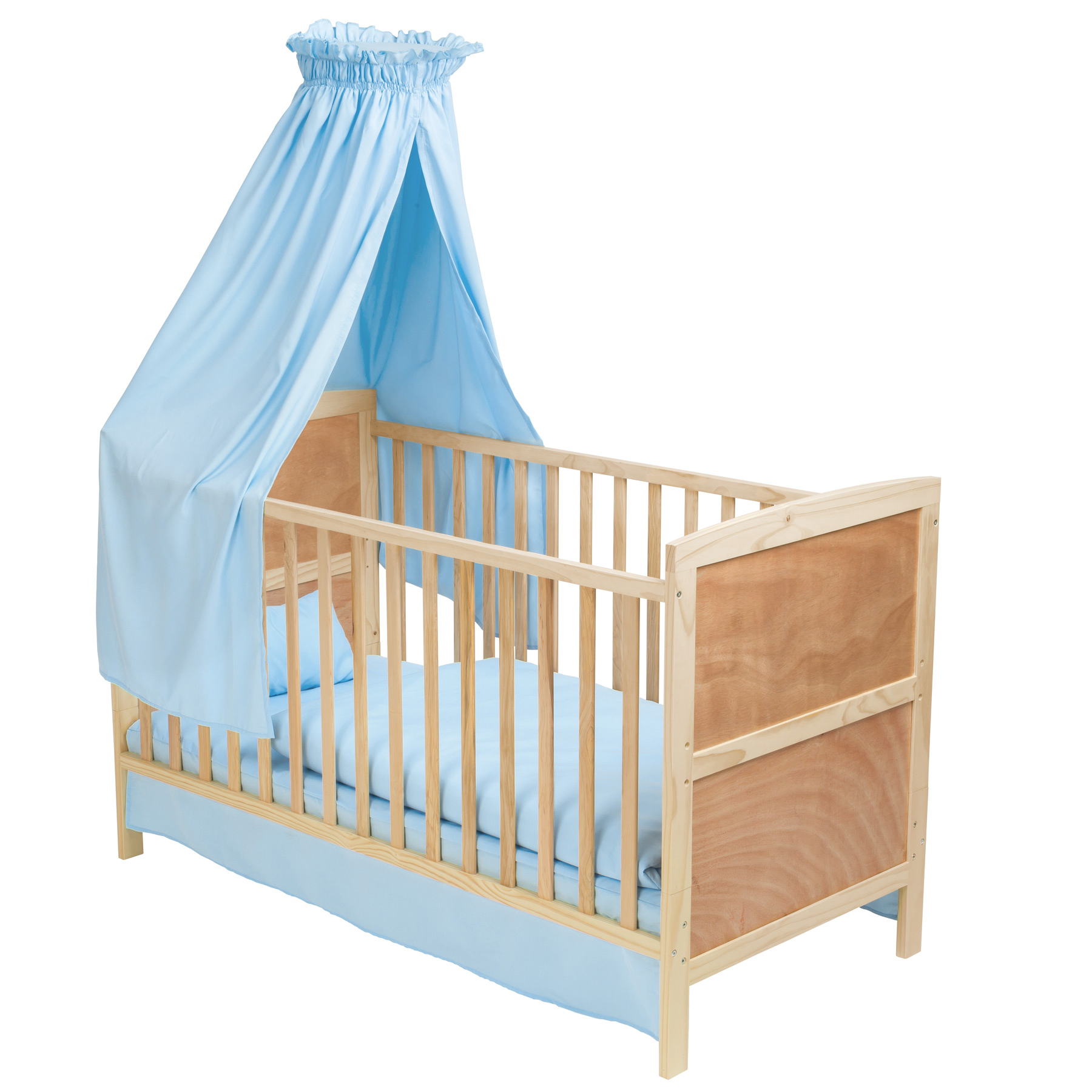 3 in 1 babybett mit himmel kinderbett h henverstellbar aus holz bettset blau ebay. Black Bedroom Furniture Sets. Home Design Ideas