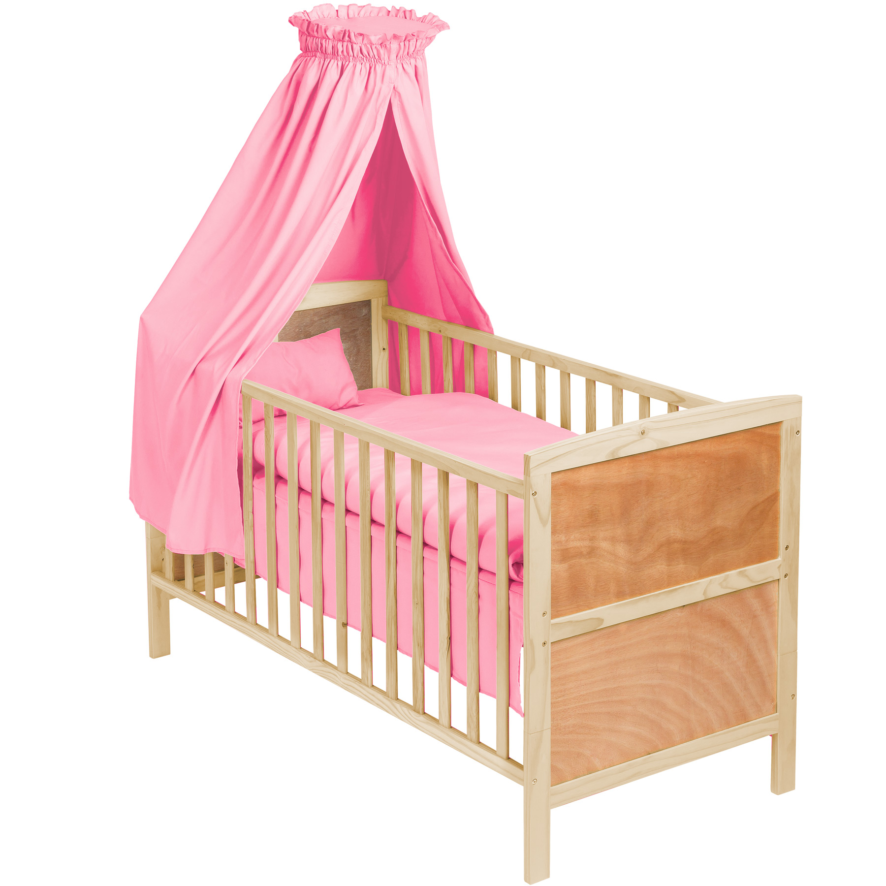 3 in 1 babybett mit himmel kinderbett h henverstellbar aus holz bettset. Black Bedroom Furniture Sets. Home Design Ideas