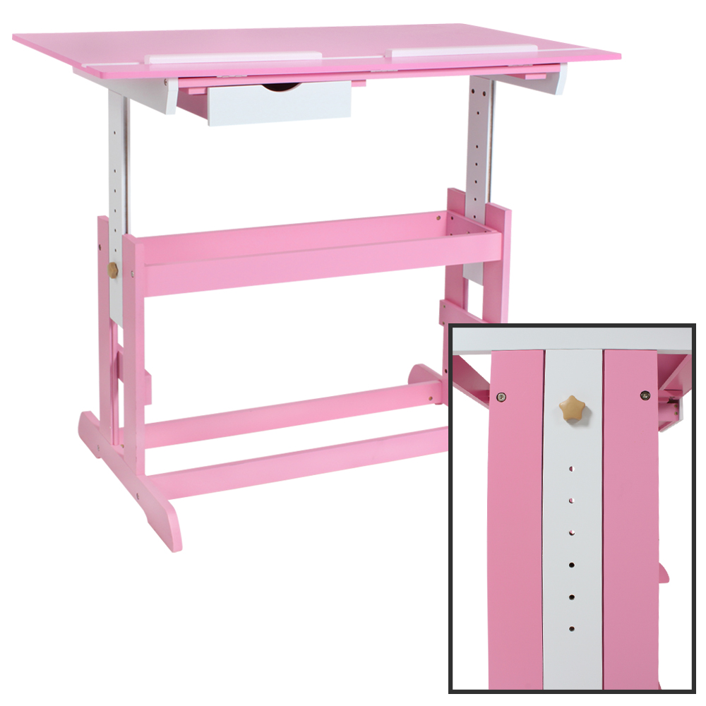 kinderschreibtisch h henverstellbar neigbar jugendschreibtisch schreibtisch rosa ebay. Black Bedroom Furniture Sets. Home Design Ideas