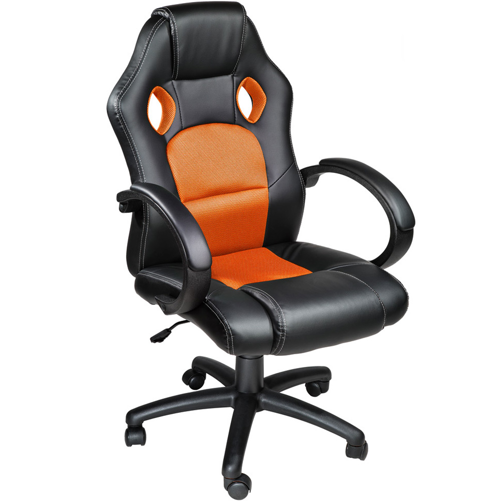 office chair racing car seat luxus computer faux leather reclining black orange ebay. Black Bedroom Furniture Sets. Home Design Ideas