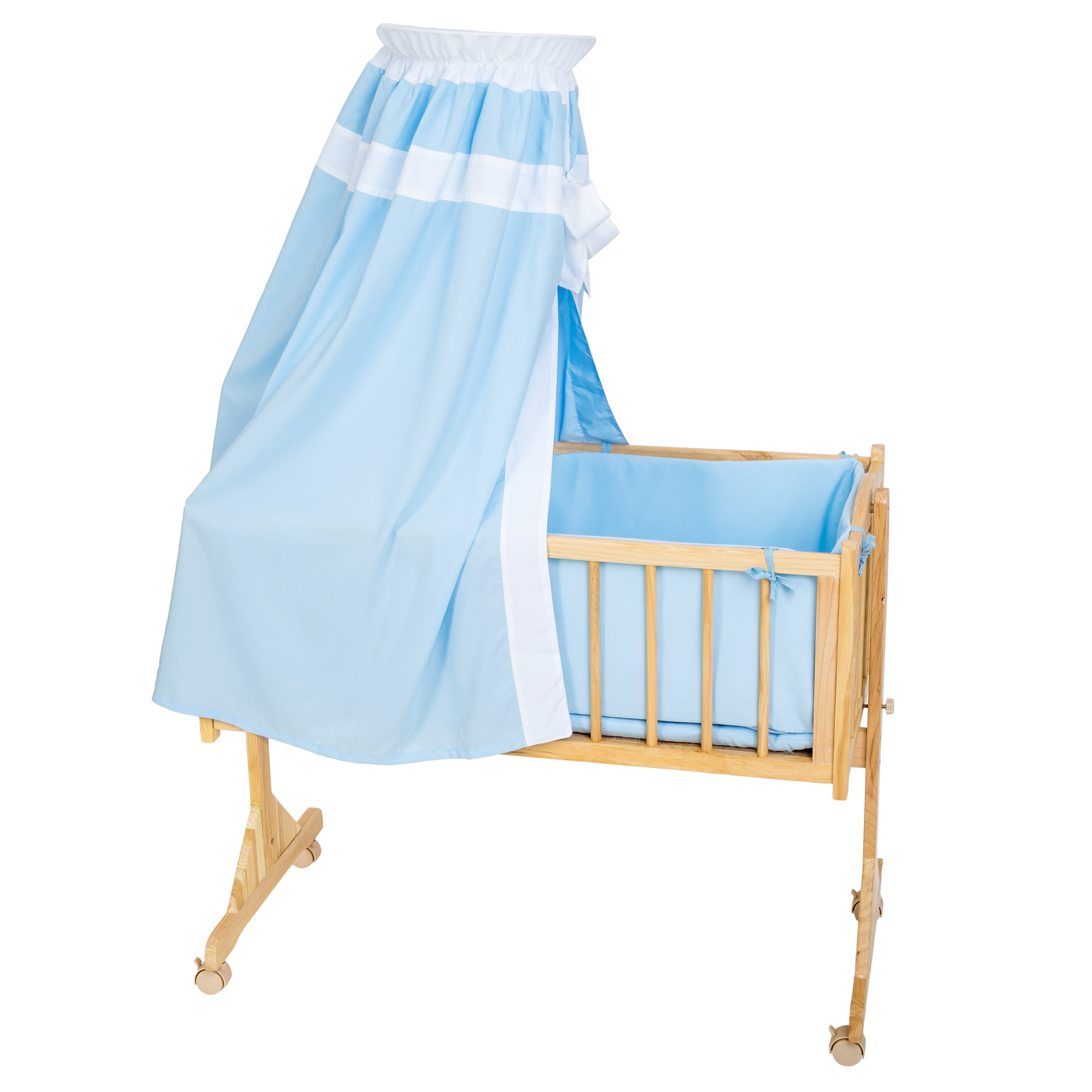 babywiege babybett stubenwagen schaukelwiege wiege holz himmel blau ebay. Black Bedroom Furniture Sets. Home Design Ideas