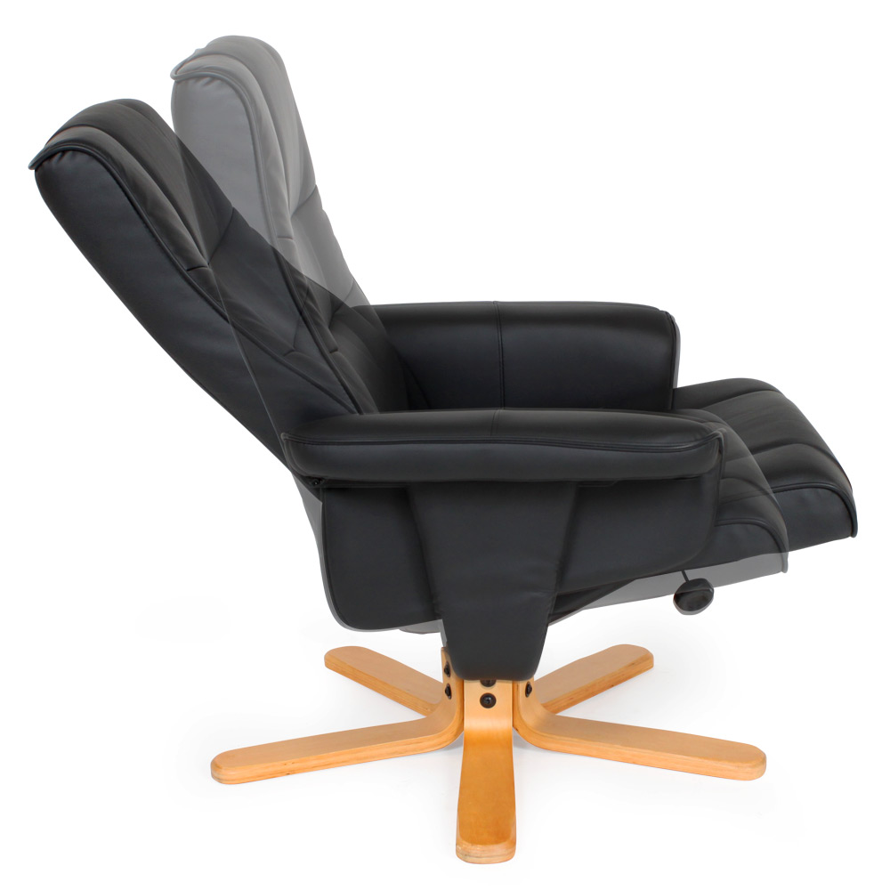 fauteuil relax tv avec pouf tabouret avec pied en bois chaise ebay. Black Bedroom Furniture Sets. Home Design Ideas
