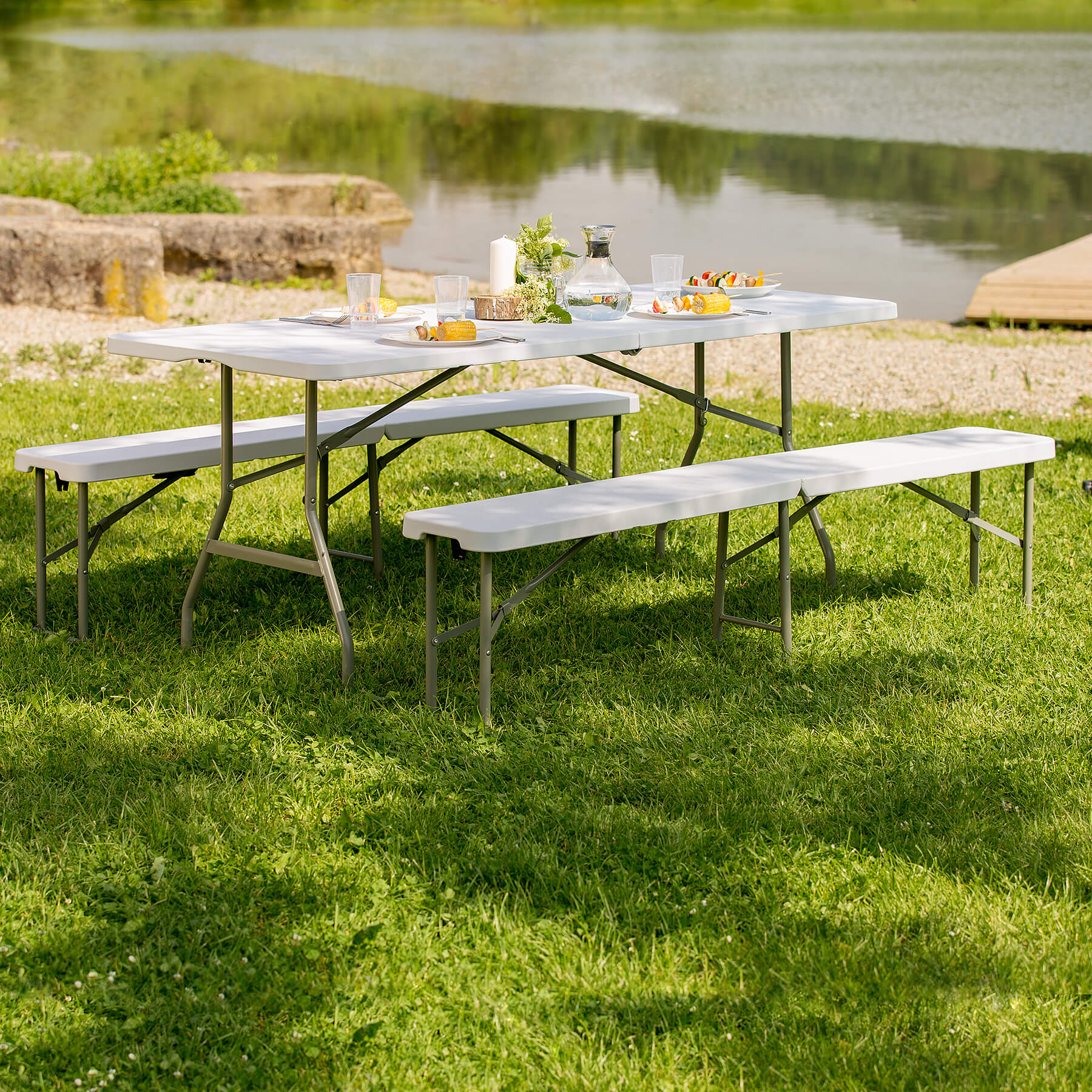 folding portable table benches camping set garden dining furniture set foldable ebay. Black Bedroom Furniture Sets. Home Design Ideas