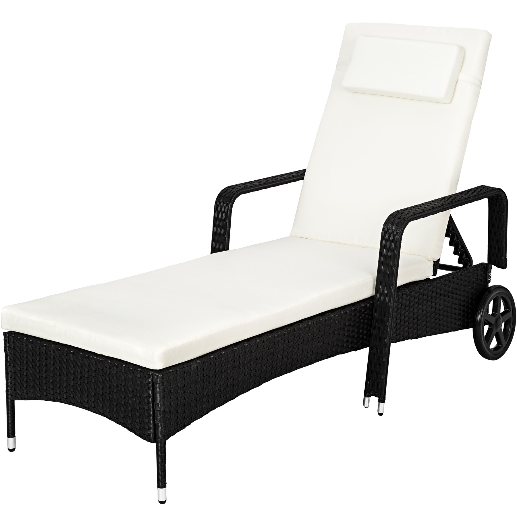 chaise longue bain de soleil meuble de jardin en poly rotin transat ebay. Black Bedroom Furniture Sets. Home Design Ideas