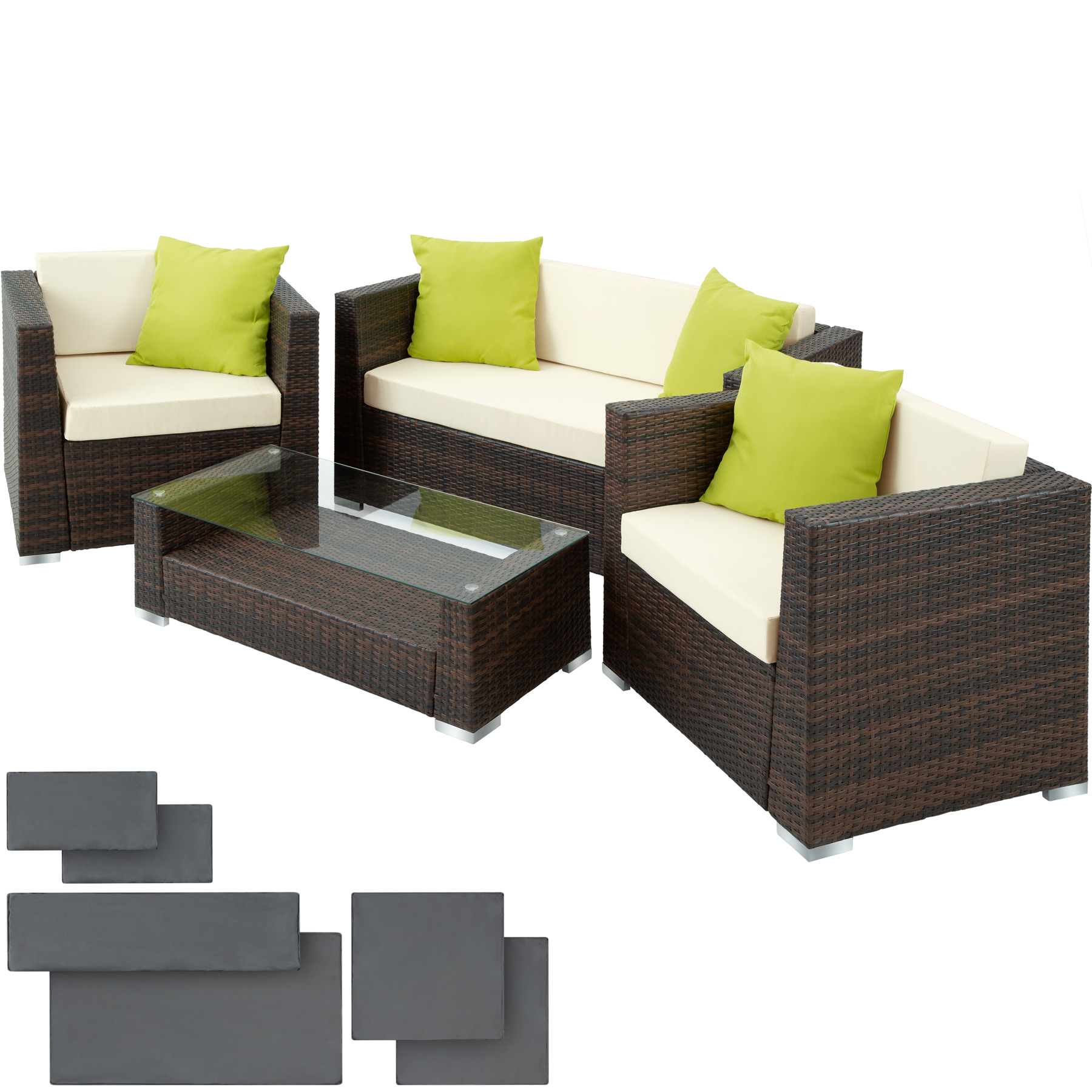 poly rattan aluminium garnitur sitzgruppe rattanm bel gartenm bel set bs ebay. Black Bedroom Furniture Sets. Home Design Ideas