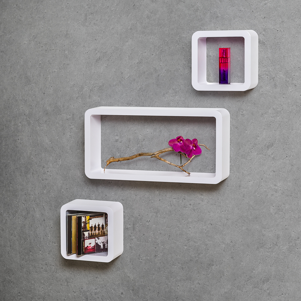 Set of 3 wall shelves schelf units cd book storage cubes for Cd mural wall display