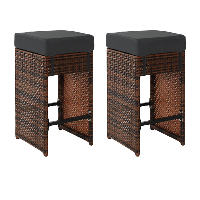2er set polyrattan rattan hocker stuhl barhocker for Rattan barhocker