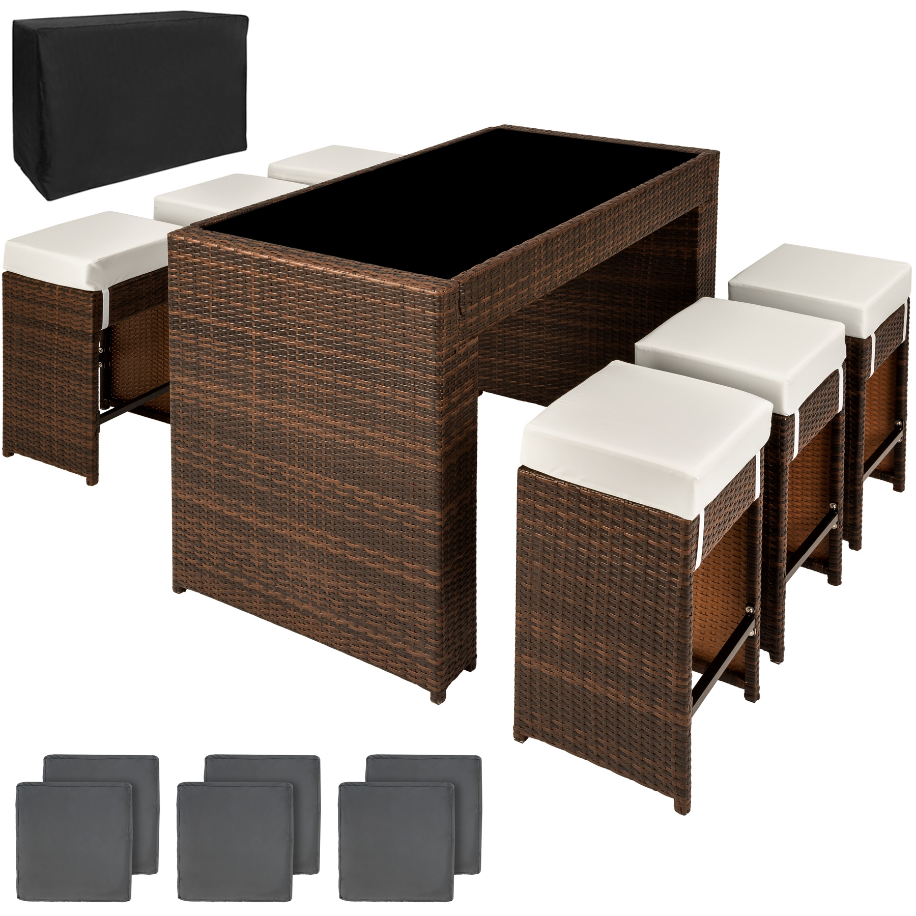 luxury rattan aluminium bar set with 6 barstools garden. Black Bedroom Furniture Sets. Home Design Ideas