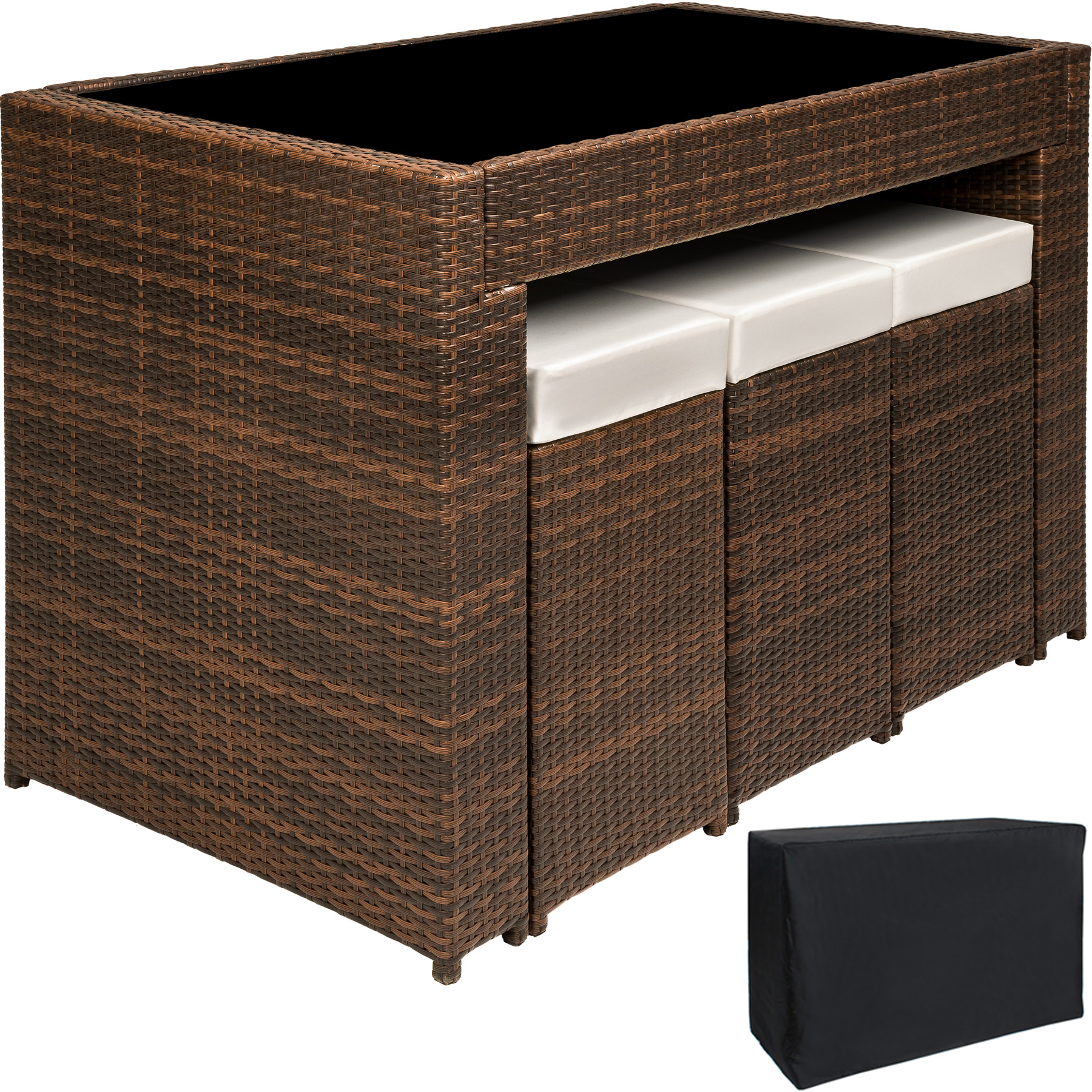 polyrattan aluminium barset tisch 6 barhocker rattan bar. Black Bedroom Furniture Sets. Home Design Ideas