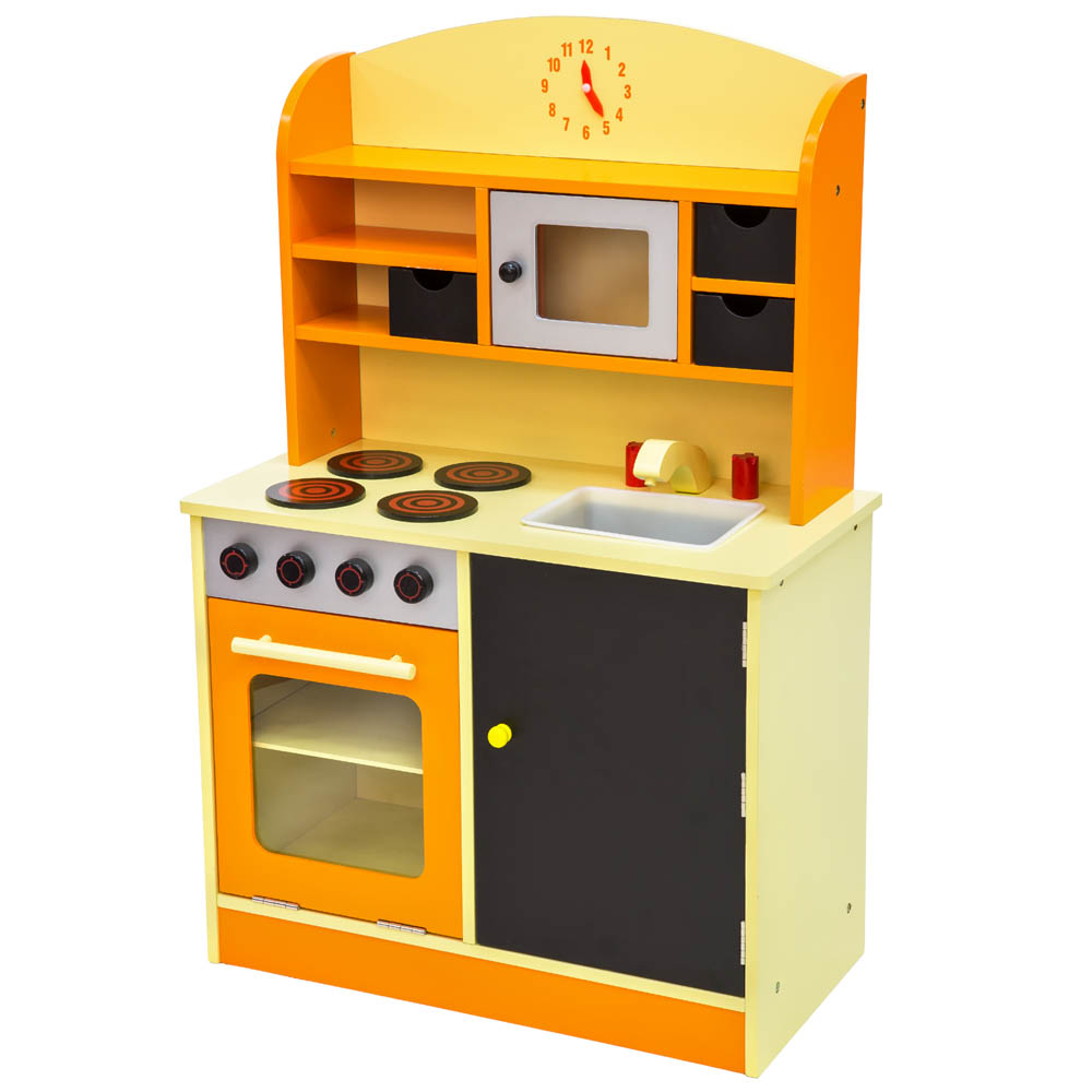 Wooden Childrens Kids Kitchen Pretend Role Play Cooking Toys Learner Set Orange Ebay