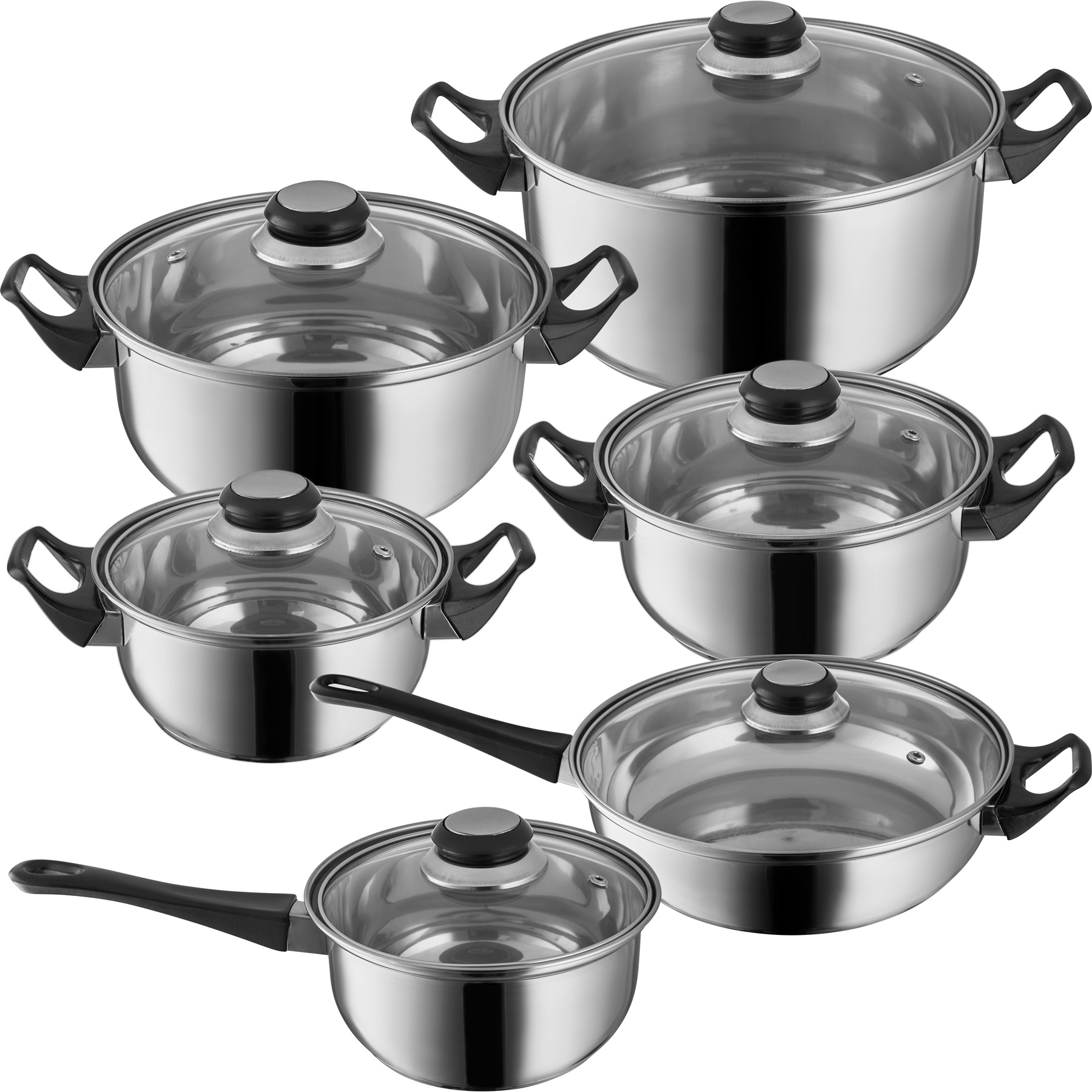 12 Pc Stainless Steel Cooking Pots Lids Frying Pan Cooking