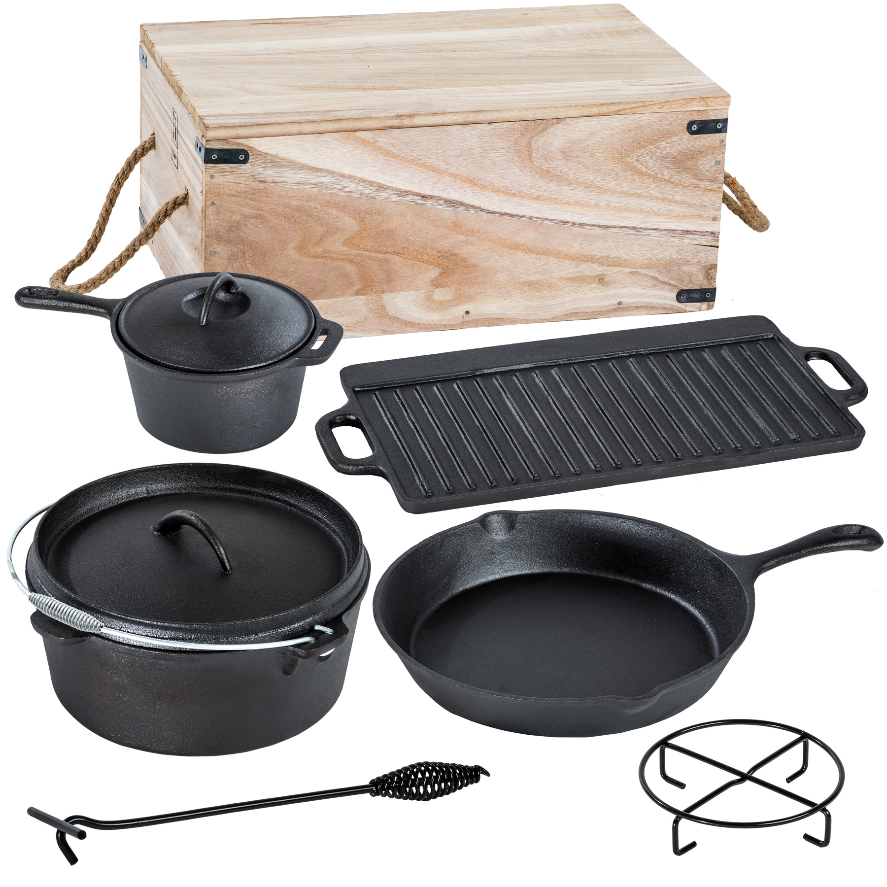 7 piece heavy duty dutch oven cast iron cookware camping fire cooking pot in box. Black Bedroom Furniture Sets. Home Design Ideas