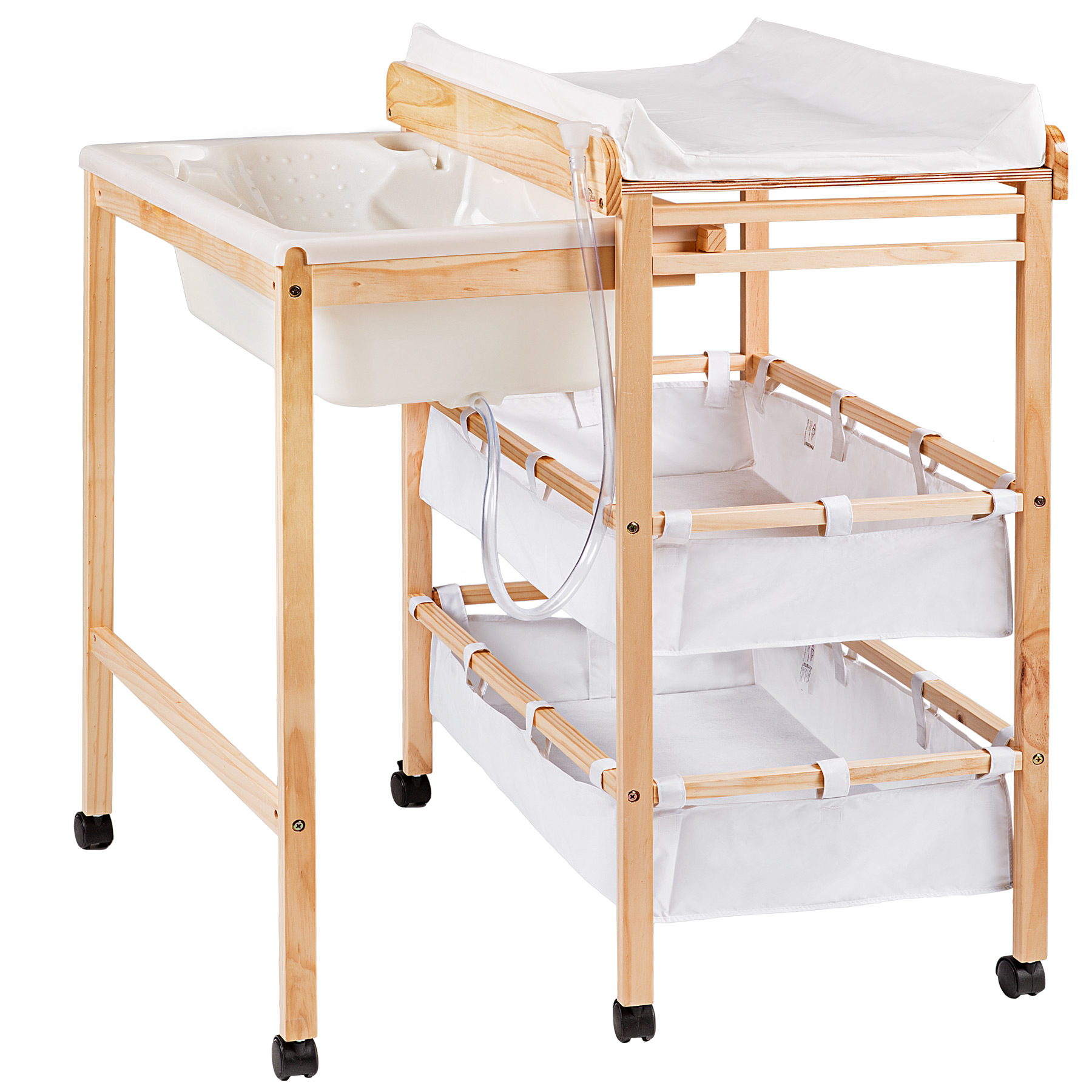 baby toddler changing table with integrated bath tub unit station boxes pad wood ebay. Black Bedroom Furniture Sets. Home Design Ideas