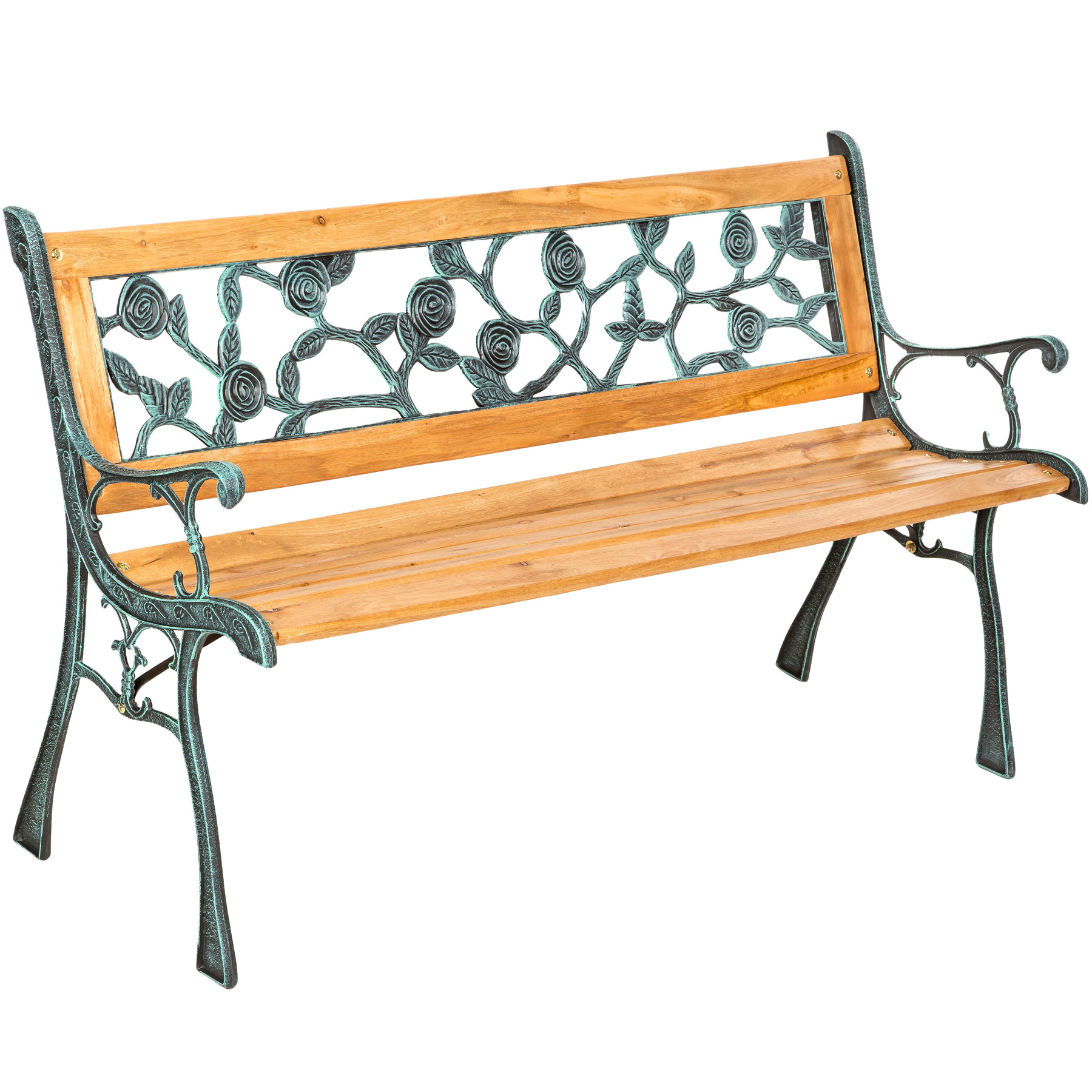 Wooden Garden Bench Slat 3 Seat With Cast Iron Legs Wood Furniture Classical New Ebay