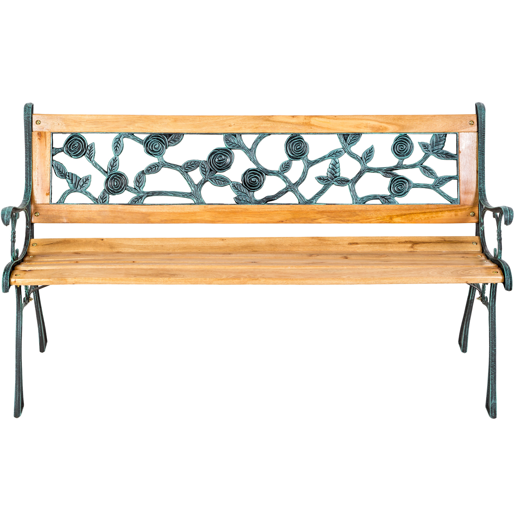 Wooden garden bench slat 3 seat with cast iron legs wood for Banco para jardin