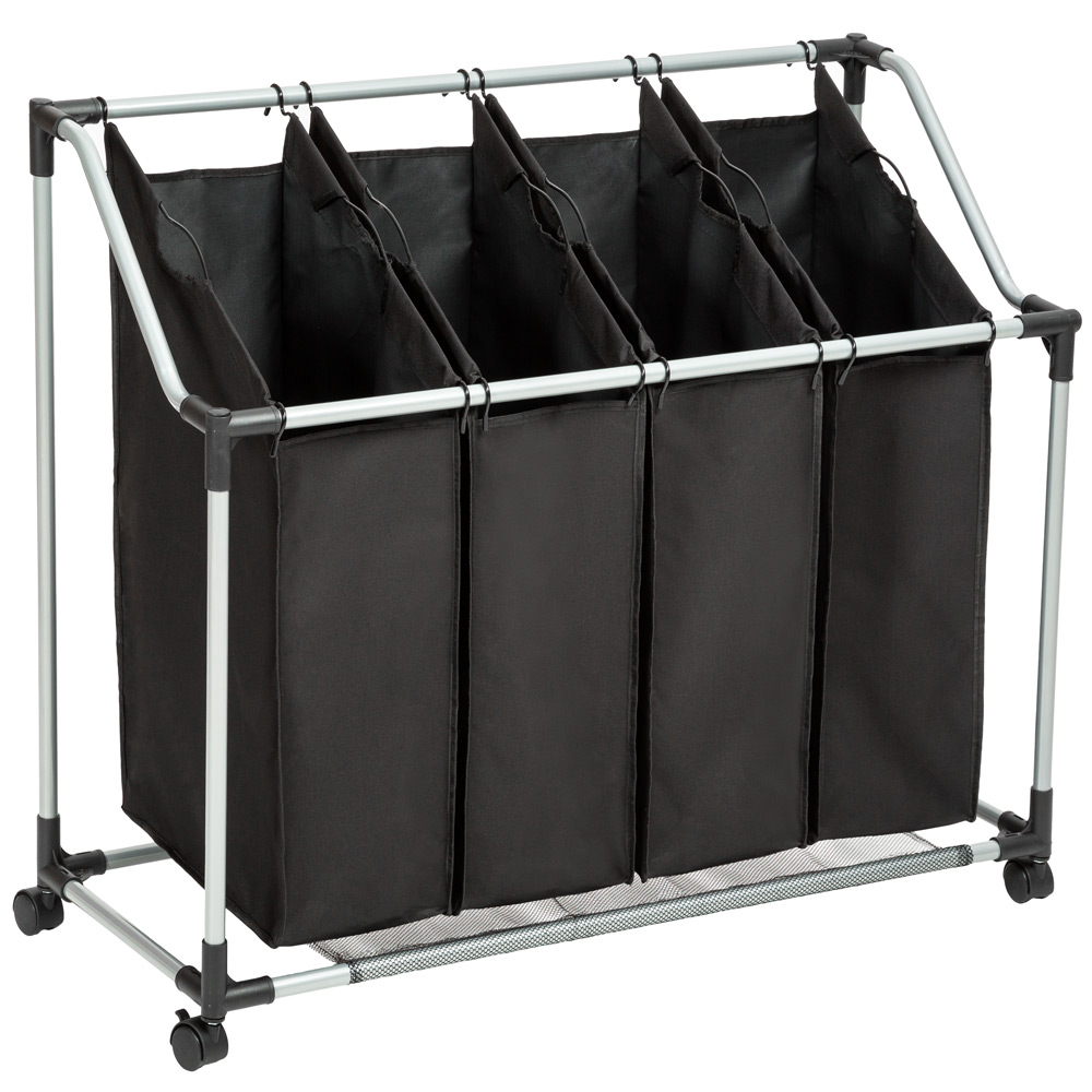4bag Laundry Sorter Cart Hamper Rolling Organizer Clothes