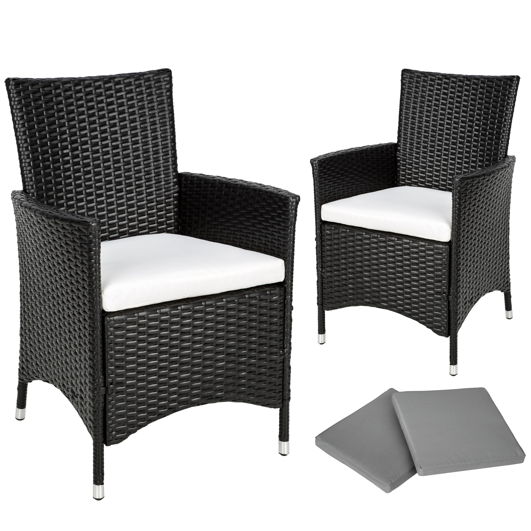 2x chaise de jardin noir si ge rotin fauteuil r sine tress en alu coussin ebay. Black Bedroom Furniture Sets. Home Design Ideas