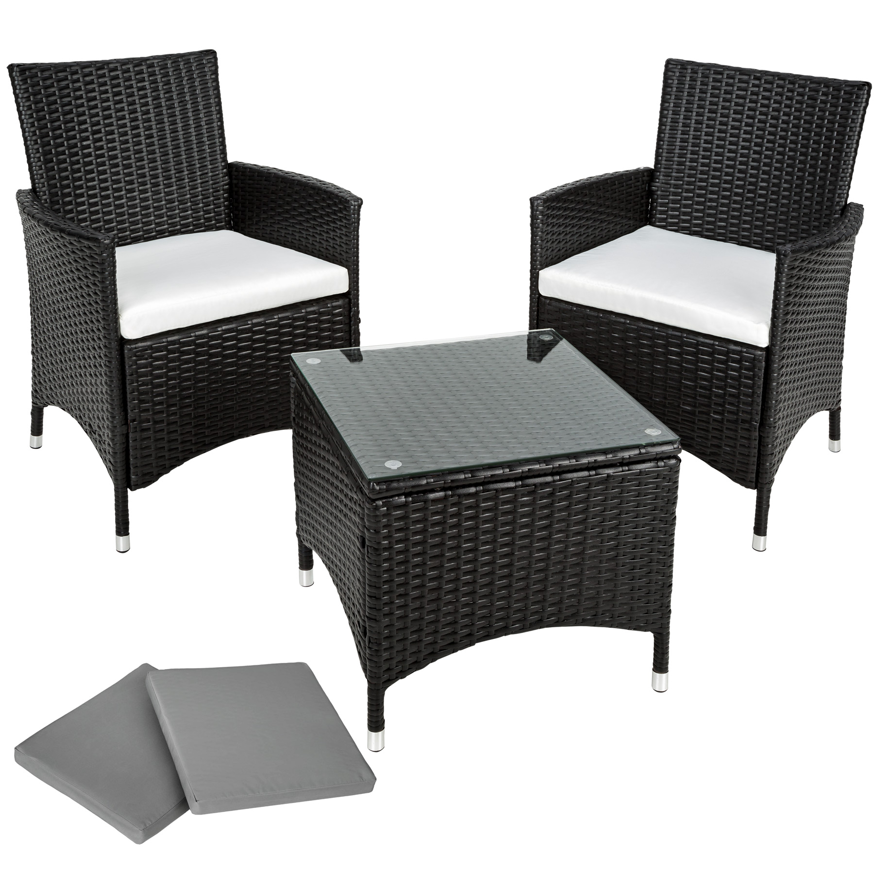 Salon de jardin chaises table basse noir en r sine tress e poly rotin alumini - Table basse resine tressee noir ...