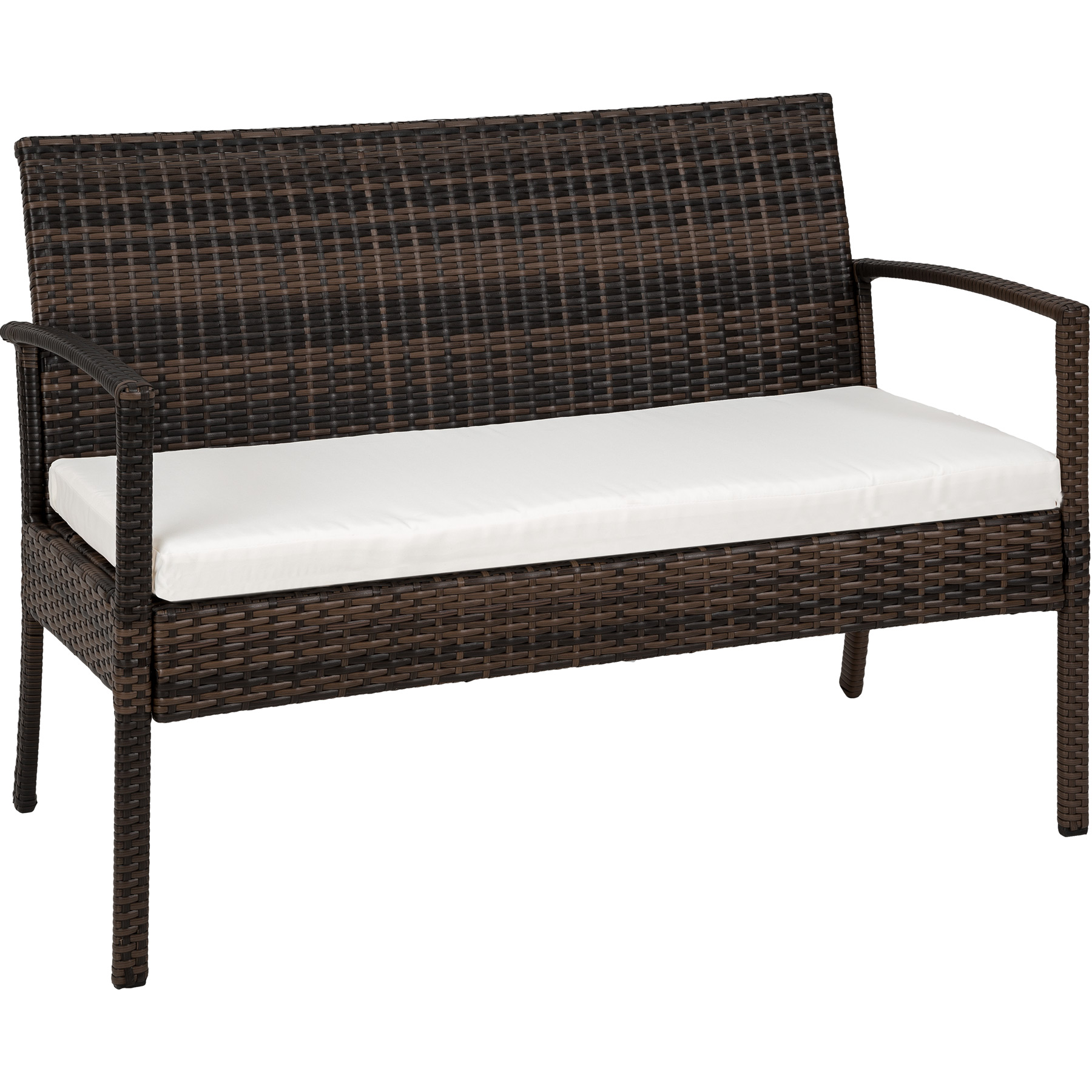 Poly Rattan Garden Furniture 2 Chairs Bench Table Set Outdoor Patio Wicker Brown Ebay
