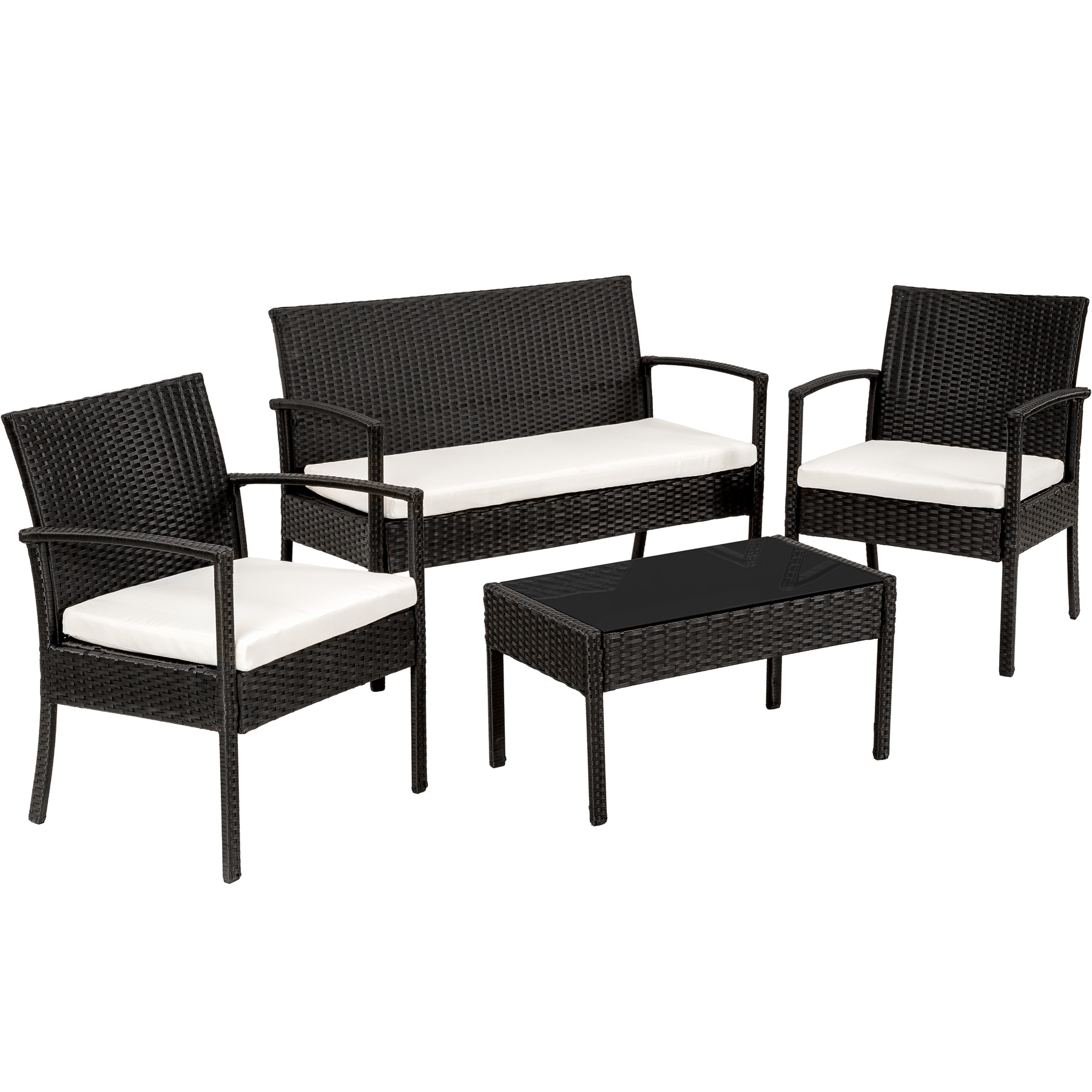 Poly Rattan Garden Furniture 2 Chairs Bench Table Set