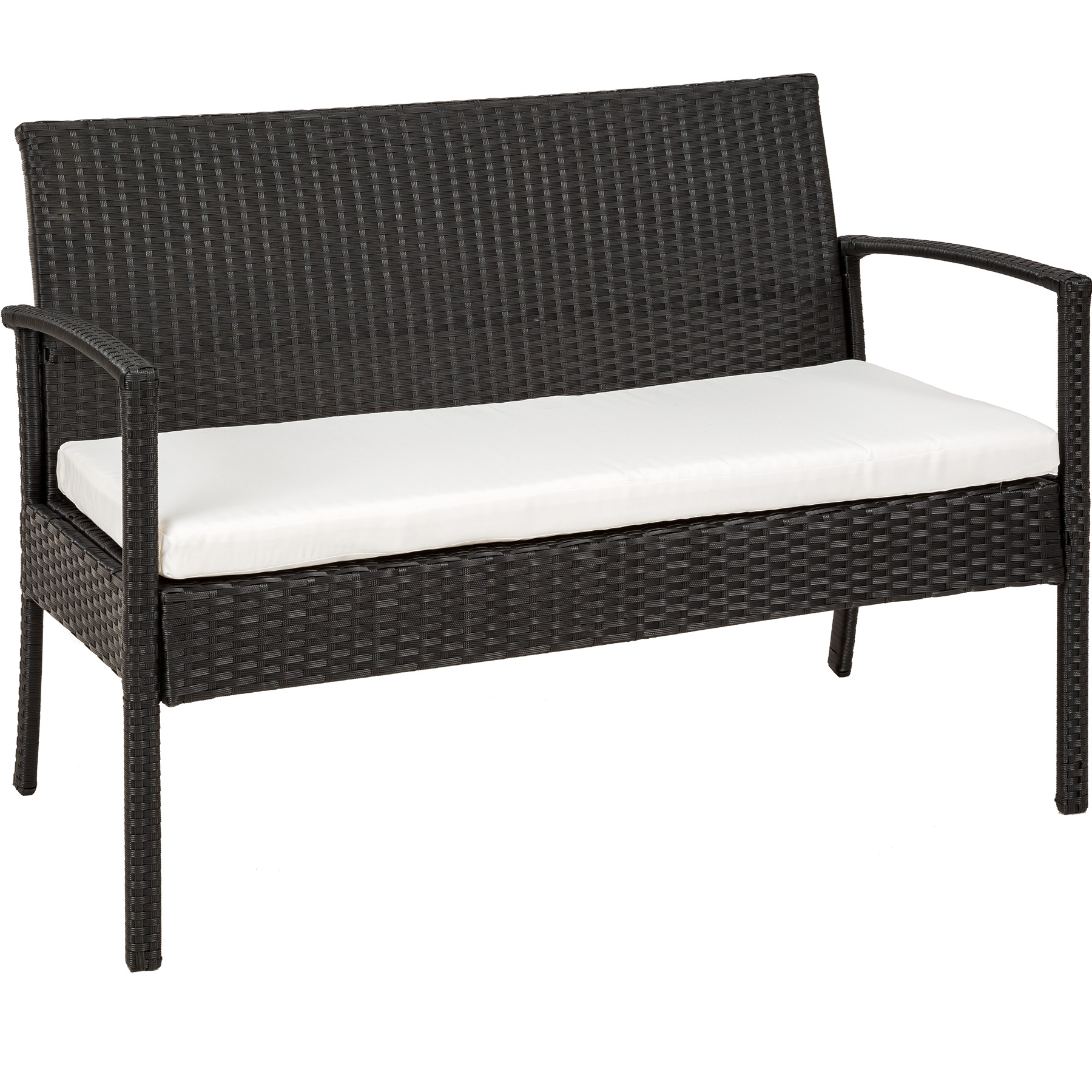 Poly Rattan Garden Furniture 2 Chairs Bench Table Set Outdoor Wicker Patio Black Ebay