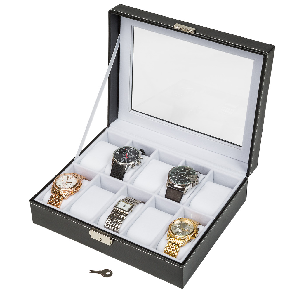 coffret pour 10 montres bo te montre bo tier rangement. Black Bedroom Furniture Sets. Home Design Ideas