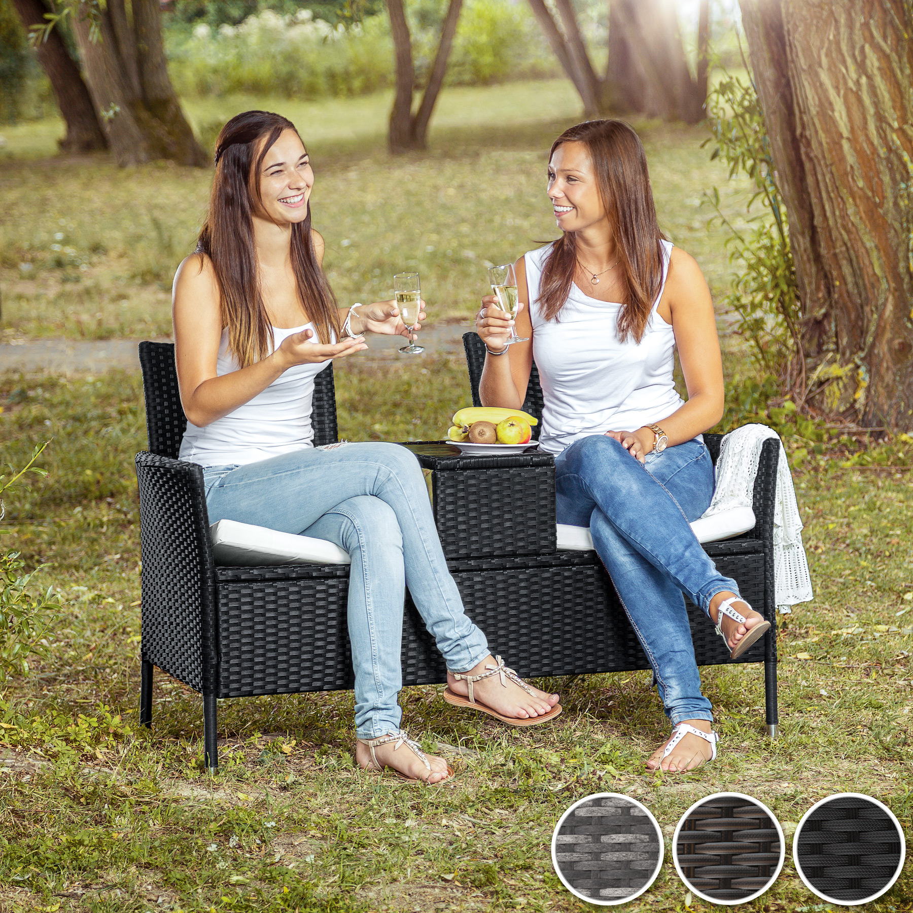 poly rattan gartenm bel sitzbank mit tisch lounge bank sofa gartenbank ebay. Black Bedroom Furniture Sets. Home Design Ideas