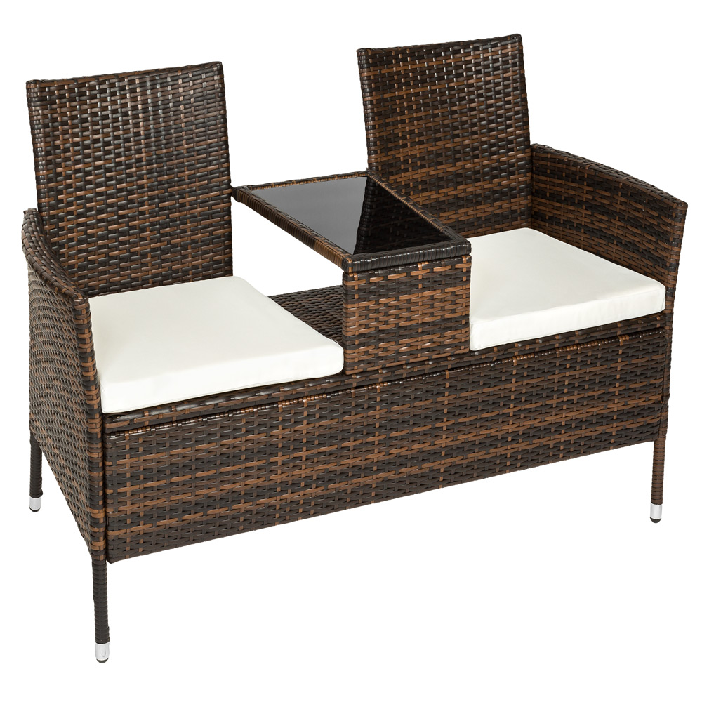 poly rattan gartenm bel sitzbank mit tisch lounge bank. Black Bedroom Furniture Sets. Home Design Ideas