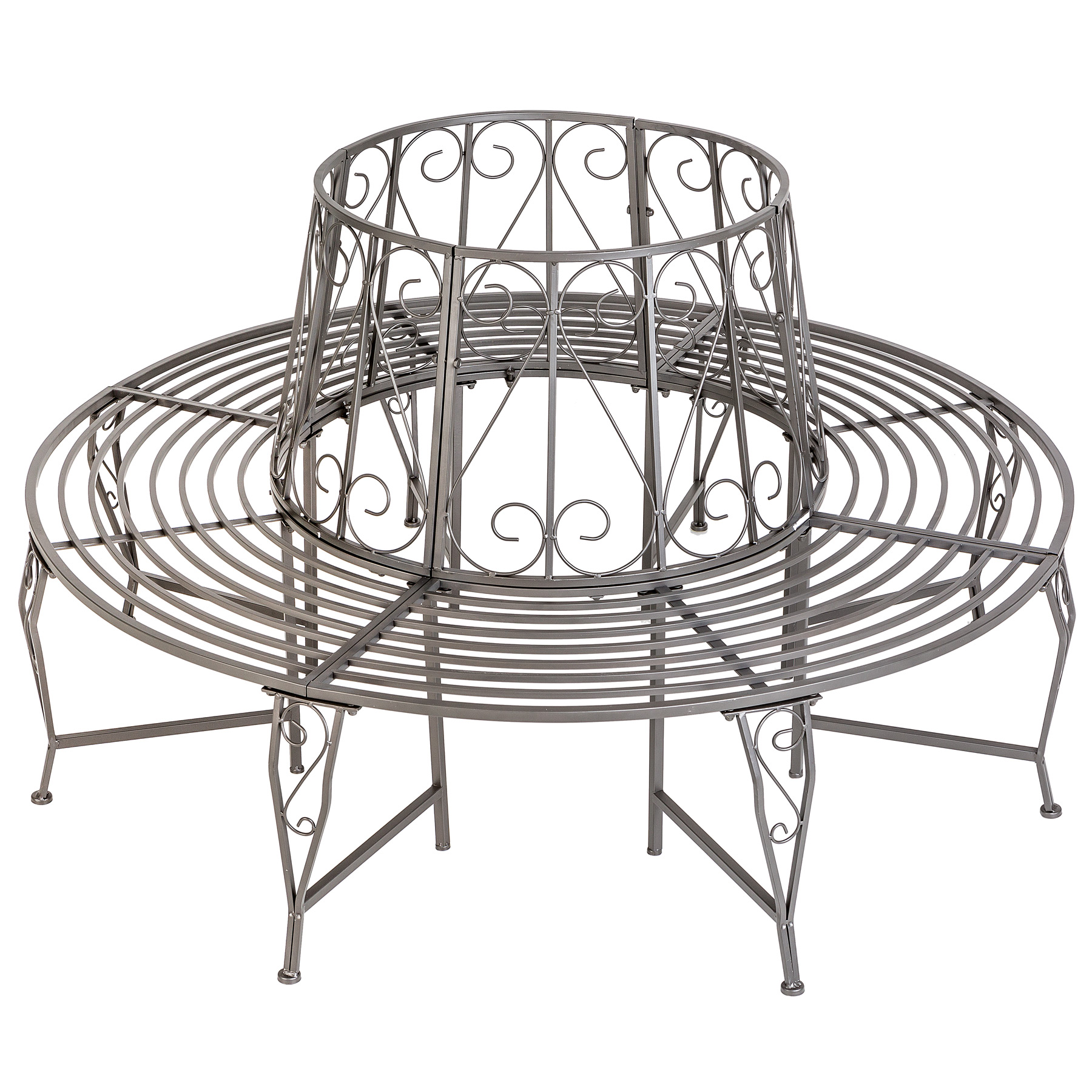Garden tree bench seat round steel circular antique furniture half anthracite ebay - Banc de jardin en metal ...